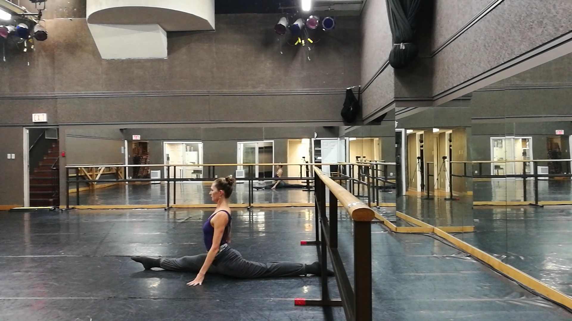 A front split attempt. Not much of this is about flexibility.