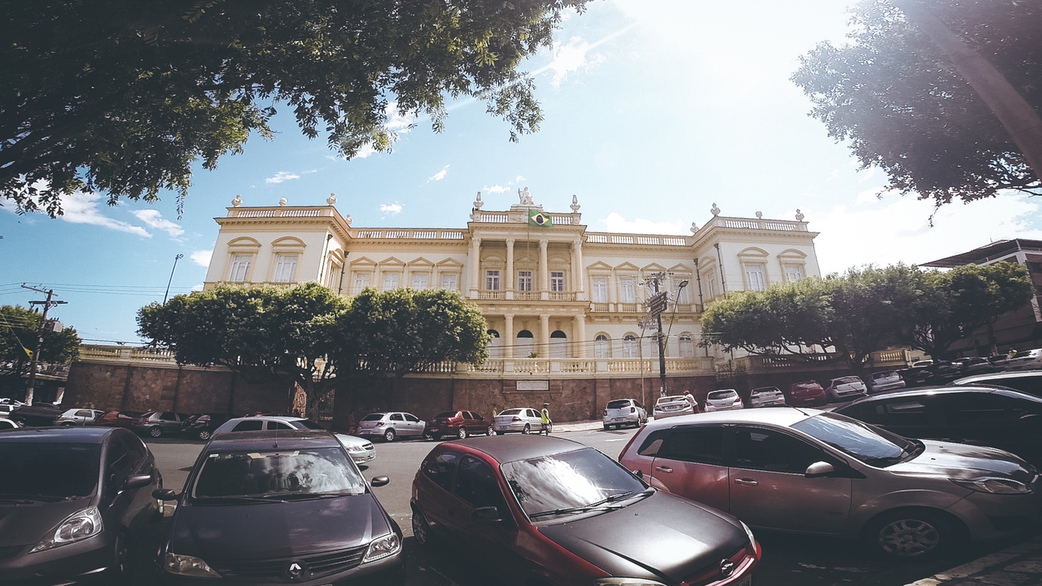A beautiful ornate building along a street we traveled.