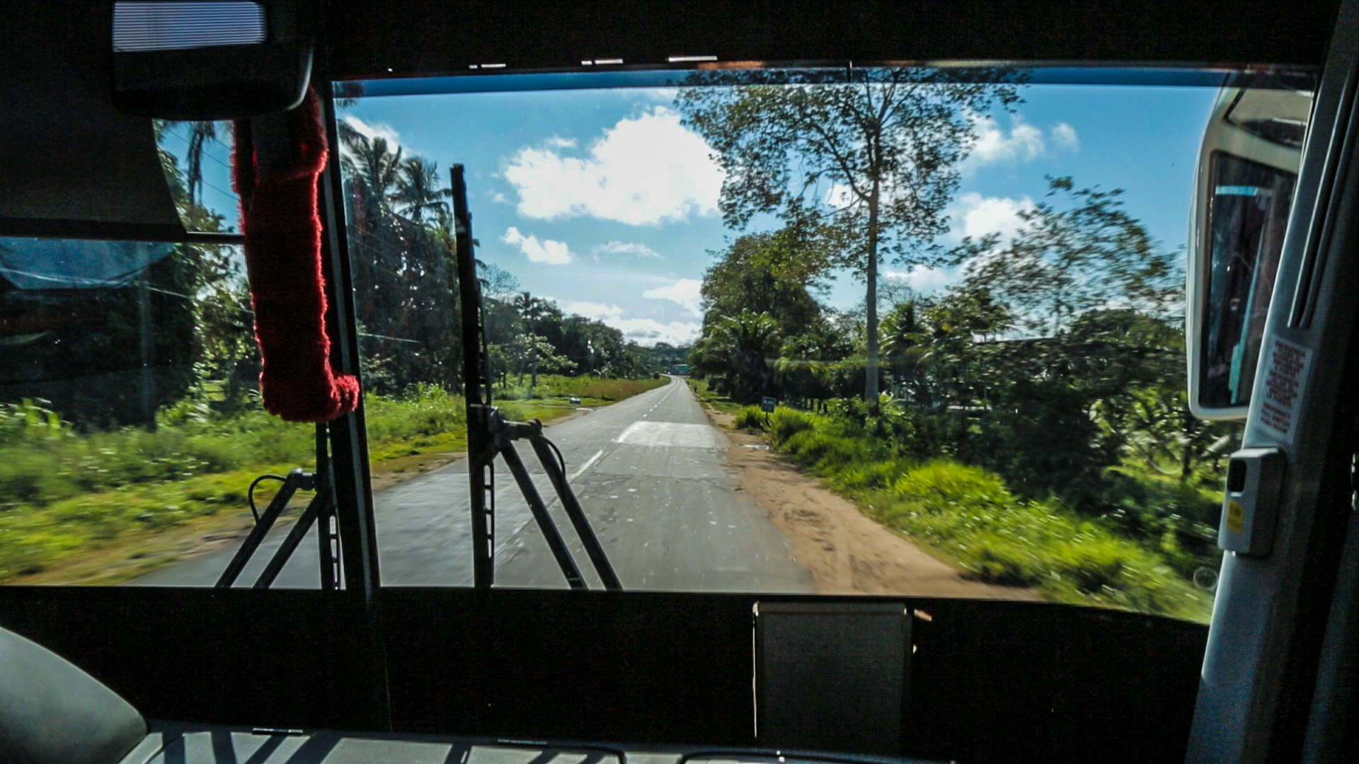 Speeding down the backroads near the camp in our bus.