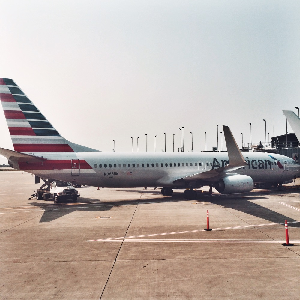 Our appropriately patriotic plane back to Chicago