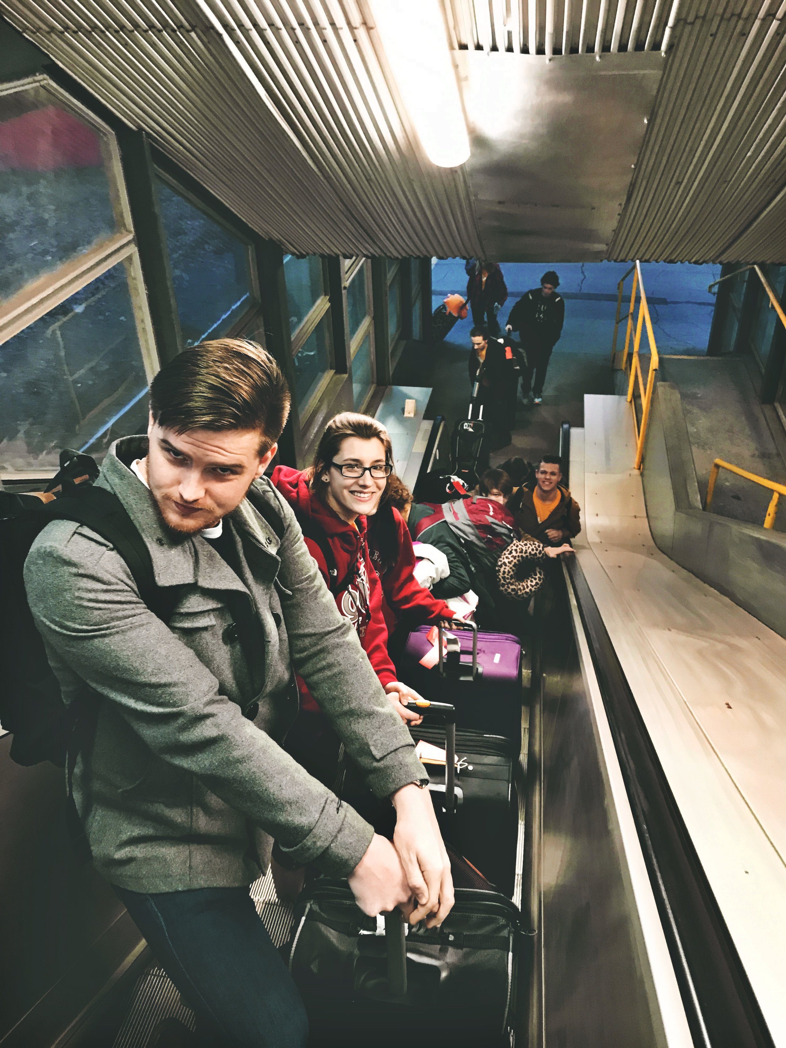 Noah & Bri  (And distantly Ryan) pose as we switch trains