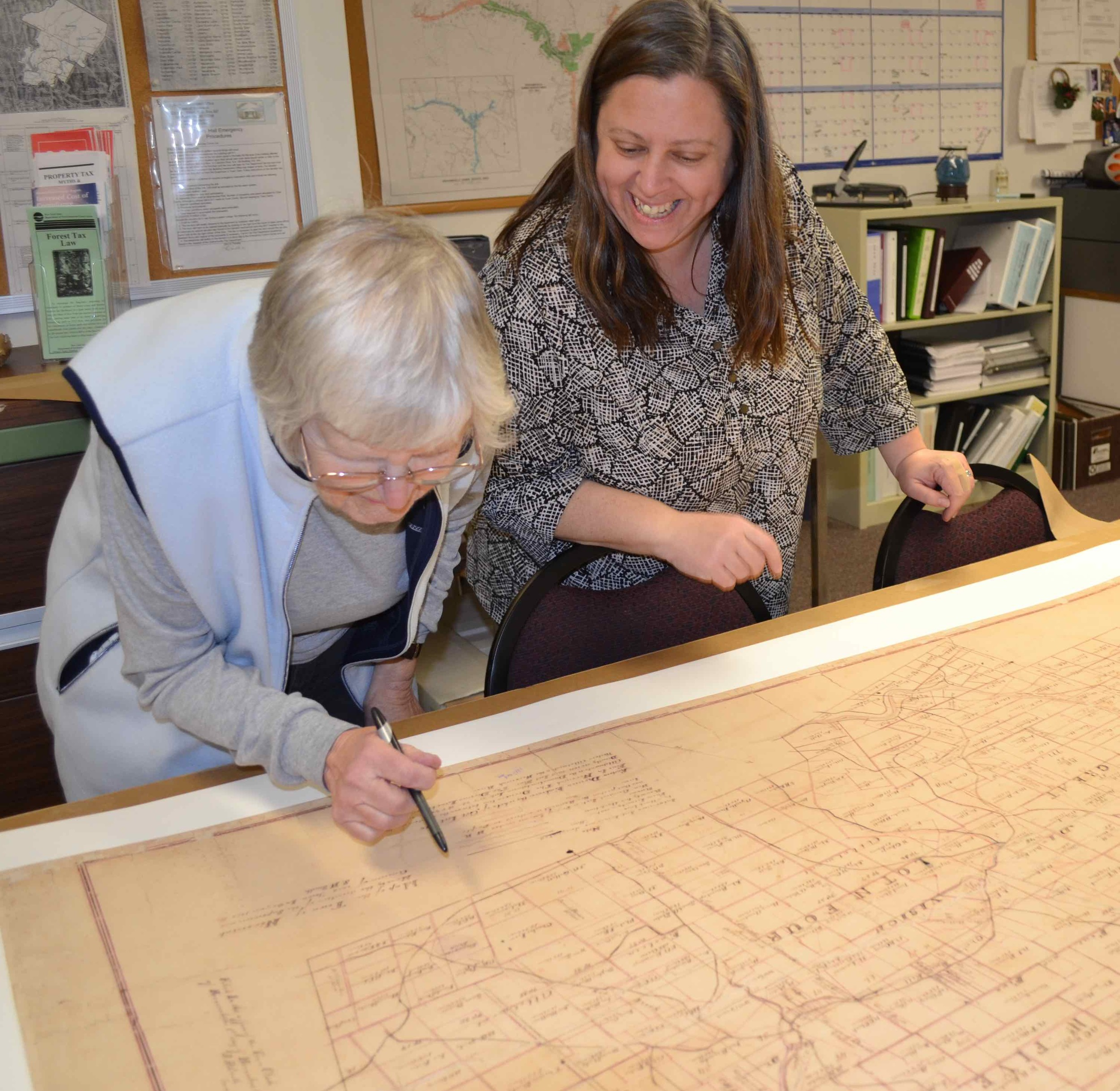 Archival conservation of historic late 19th century Town of Neversink map with land parcels and rivers (SMIP).