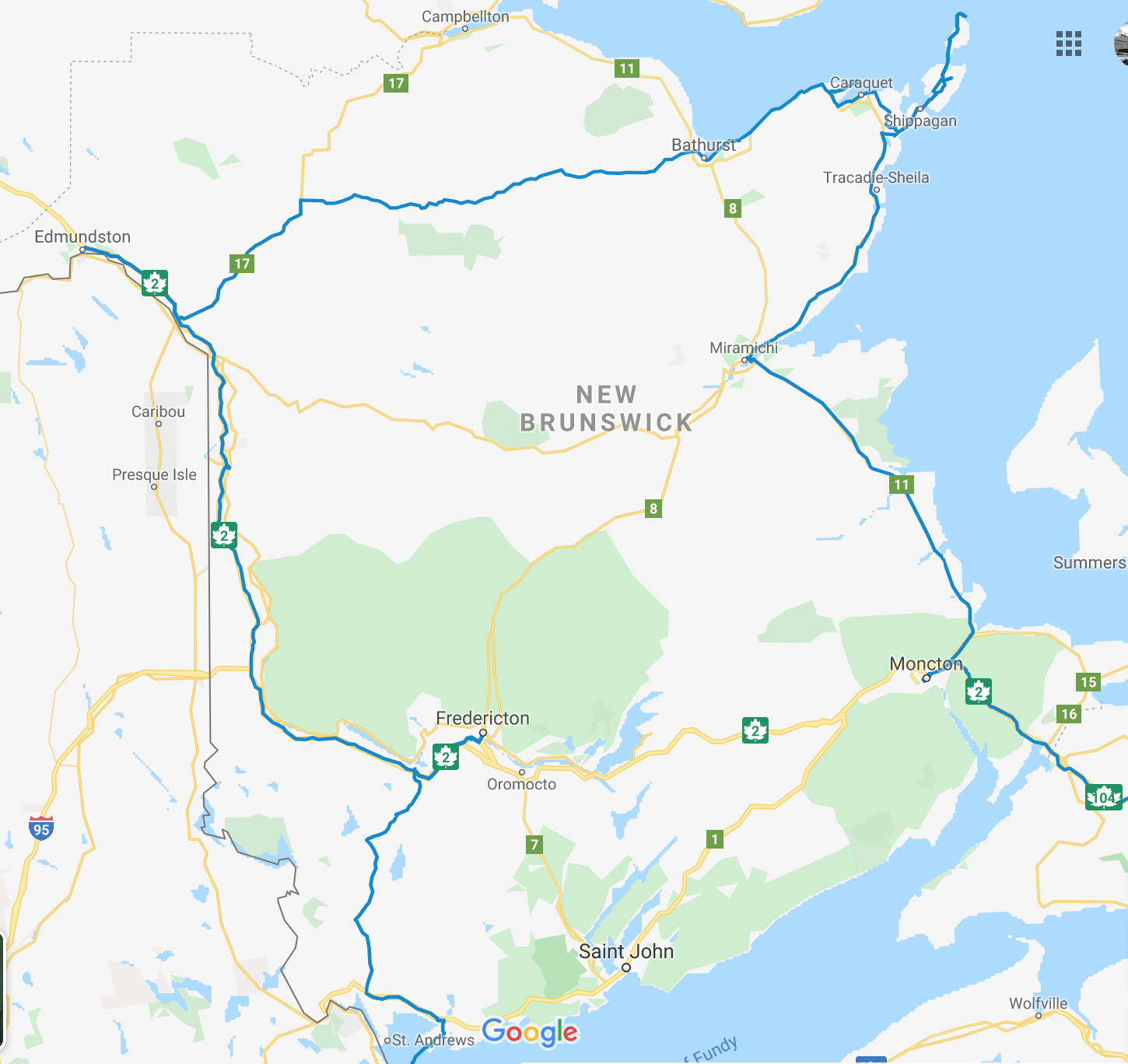 Travel routes in New Brunswick