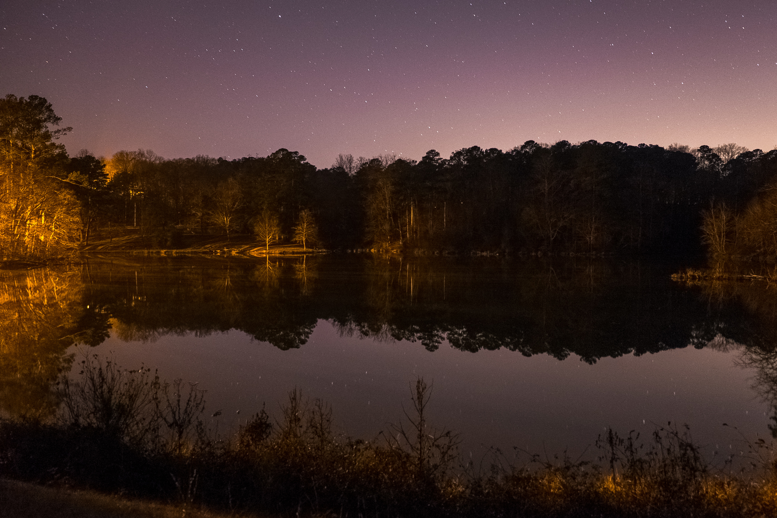 You can see the light pollution from a nearby city behind the trees. Unfortunately, this makes long exposures (very important for night photography) almost impossible. Caught a couple small meteors though.