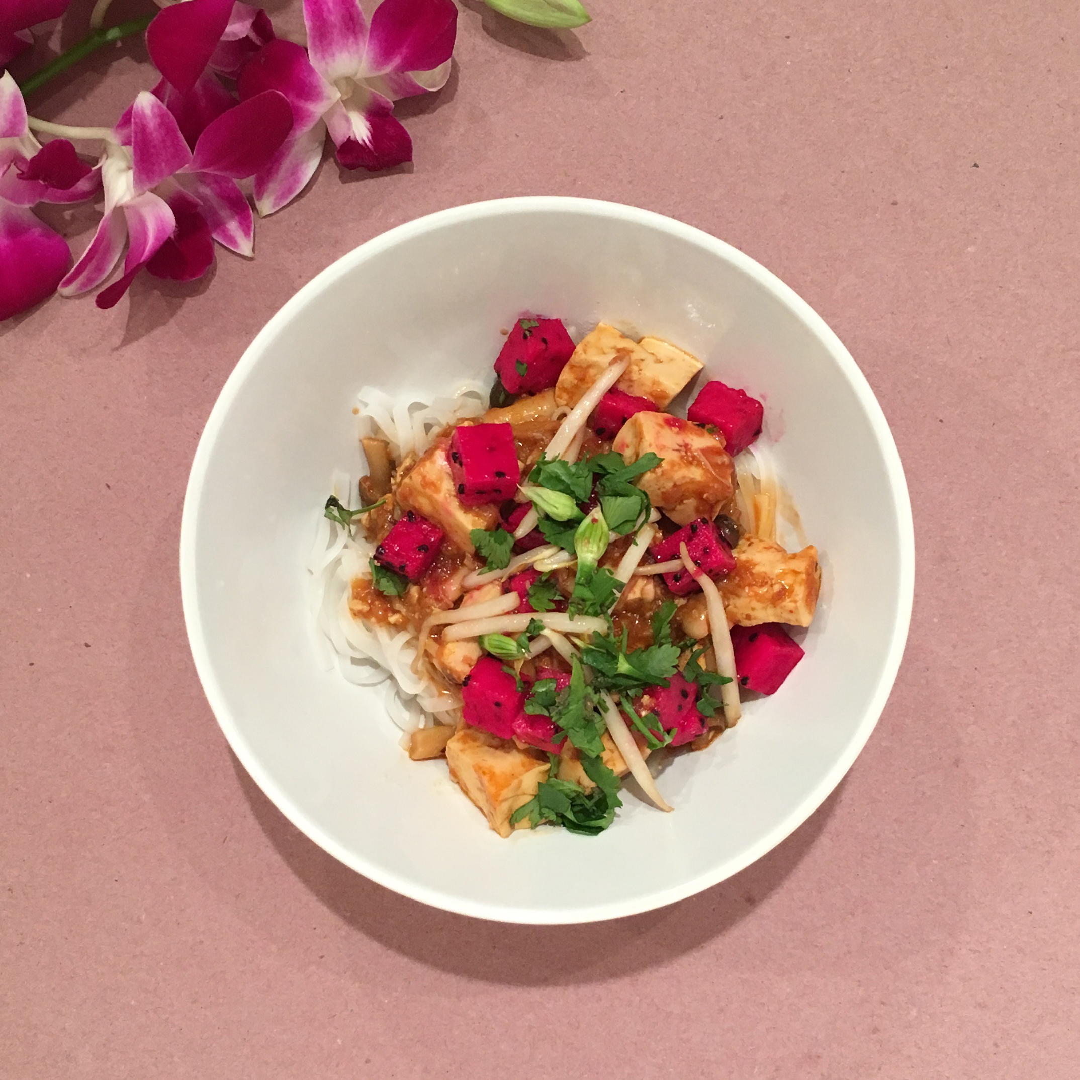 Yooeating entree round: Rice noodles with miso tofu, dragonfruit, and bean sprouts