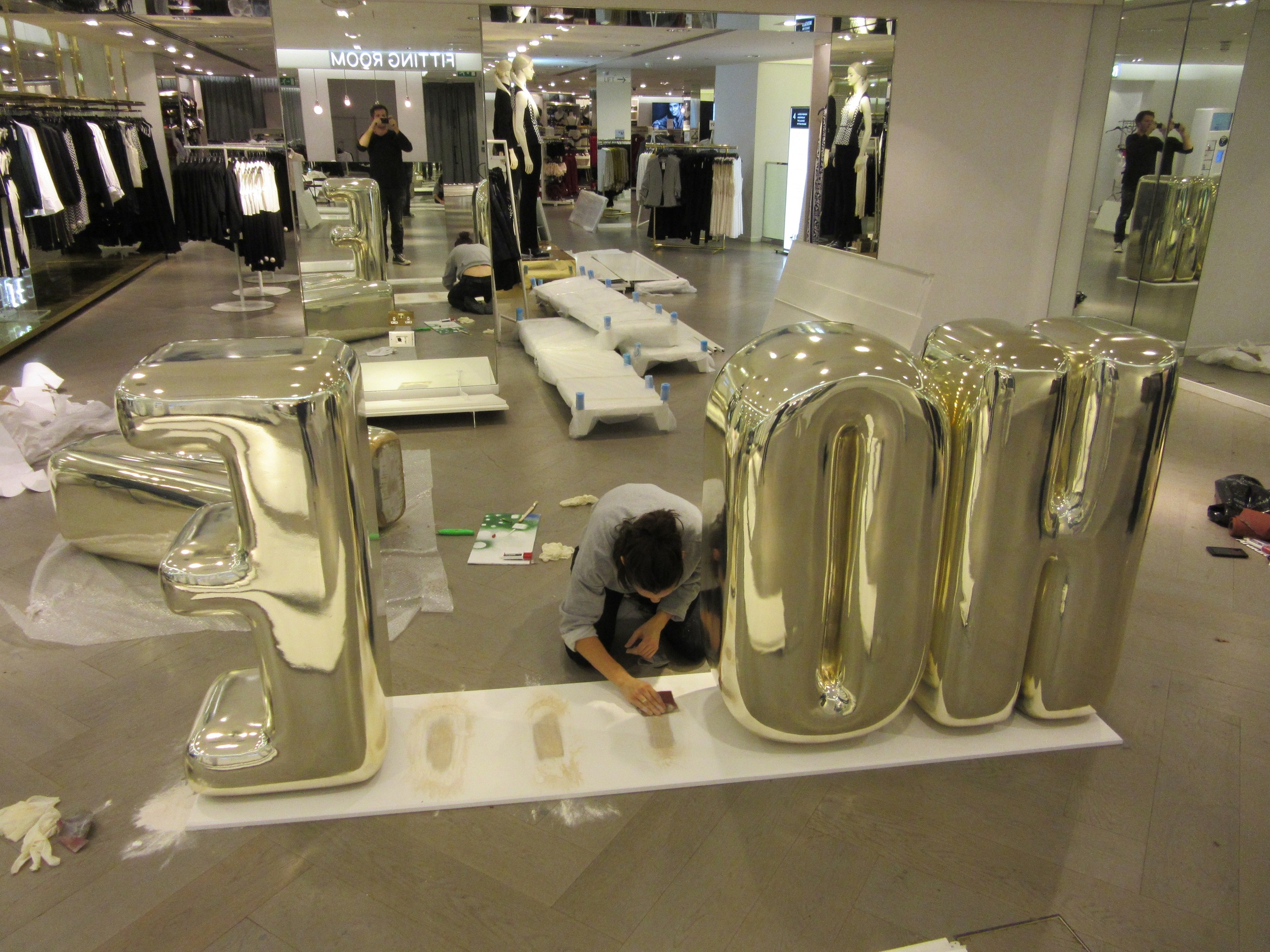 late night installing at H&M