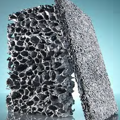 ALUMINIUM SPONGE - Aluminum foam creates strong yet lightweight panels. Similar in appearance to a metallic sponge, it is visually striking, with a modern dramatic look. For interior or exteriors, this material by Alusion is produced in panels ranging in various densities, and in thicknesses from 12.7mm to 43.2 mm.