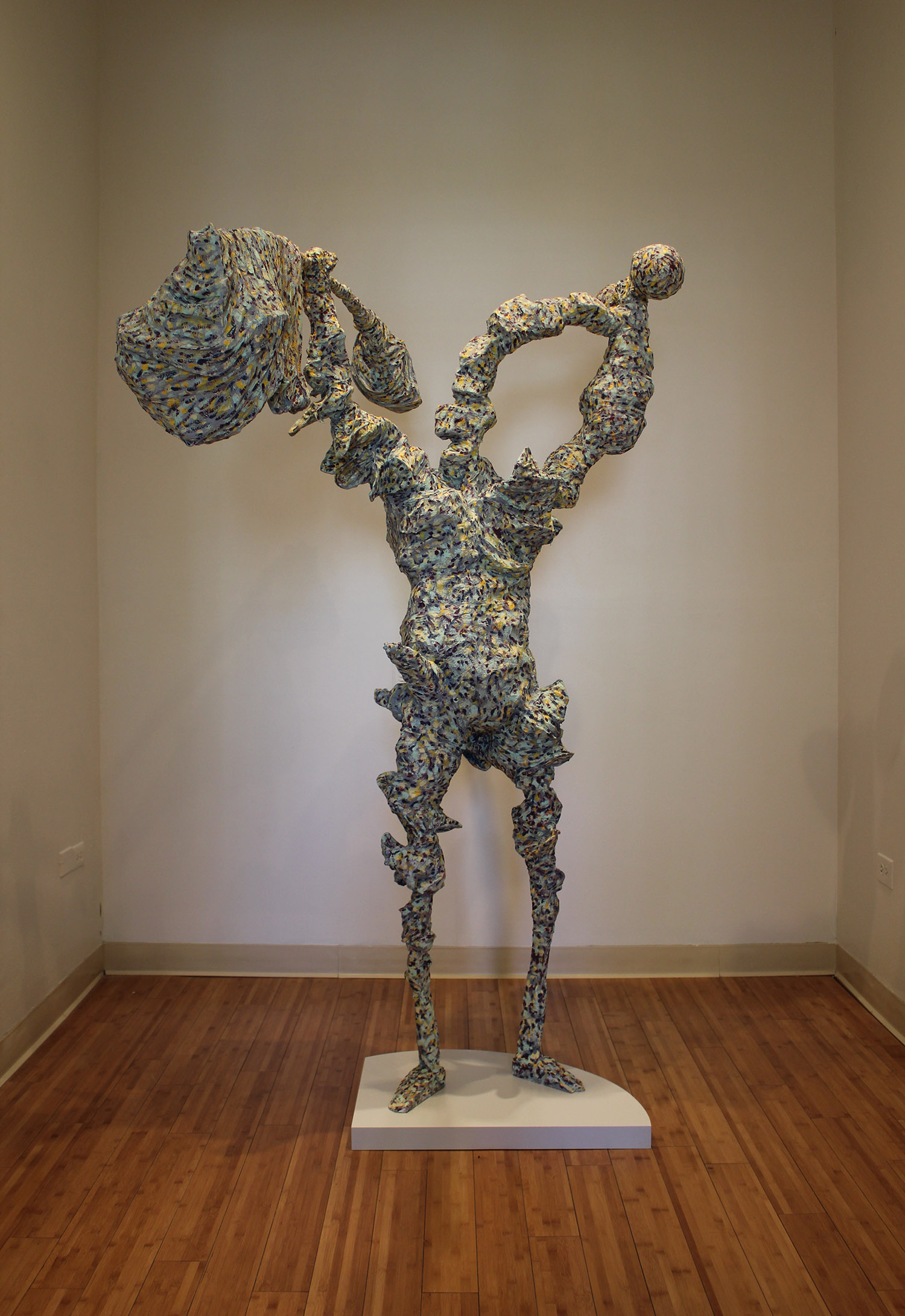 "Weightless , 2012; mixed media; 80""h x 42""w x 60""d"