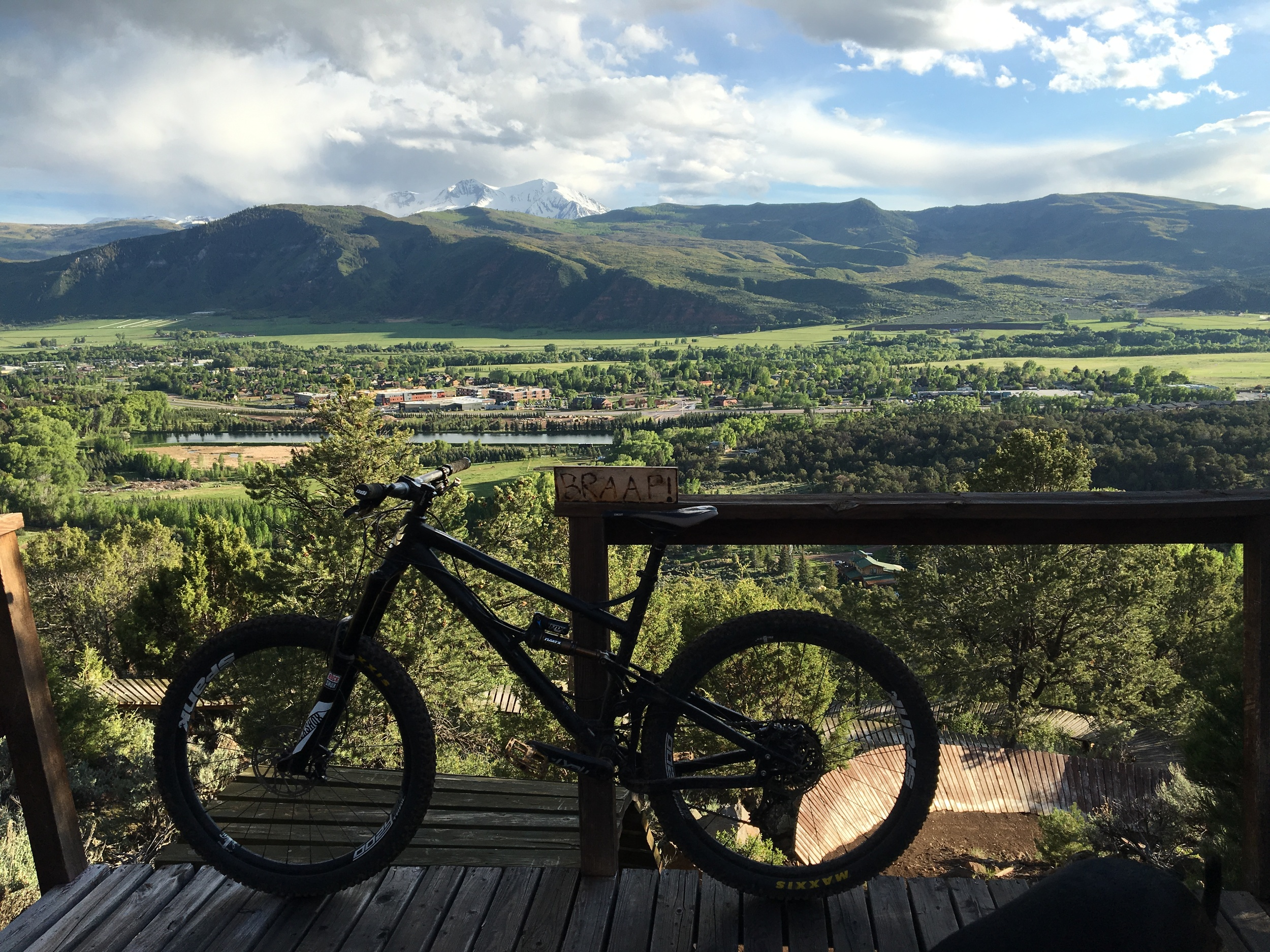 The view from the top of the park encompassing 600 vertical, trails of all disciplines in a completely private setting. Come Ride On! with us!