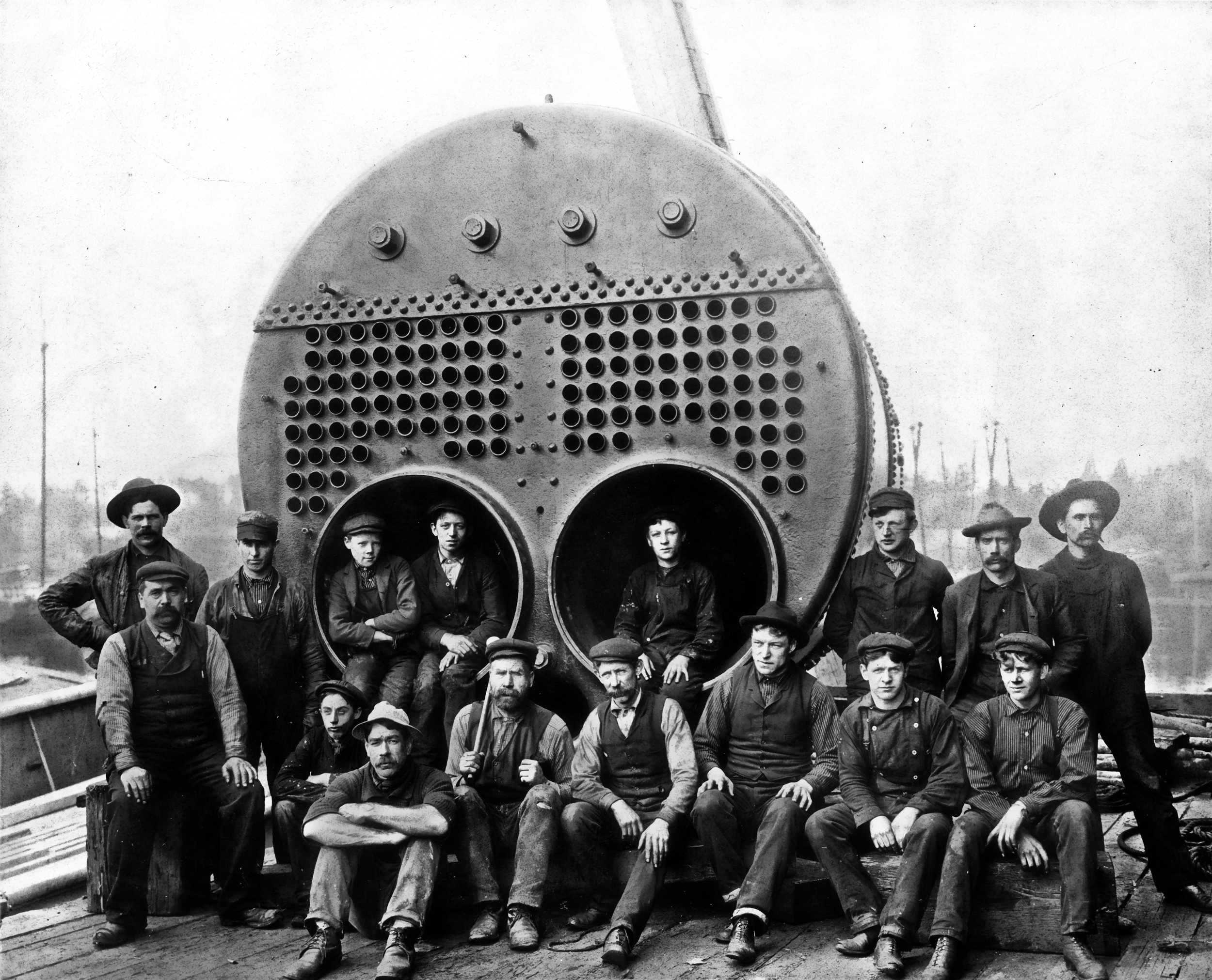 Posing With a Scotch Marine Boiler, Vancouver, British Columbia
