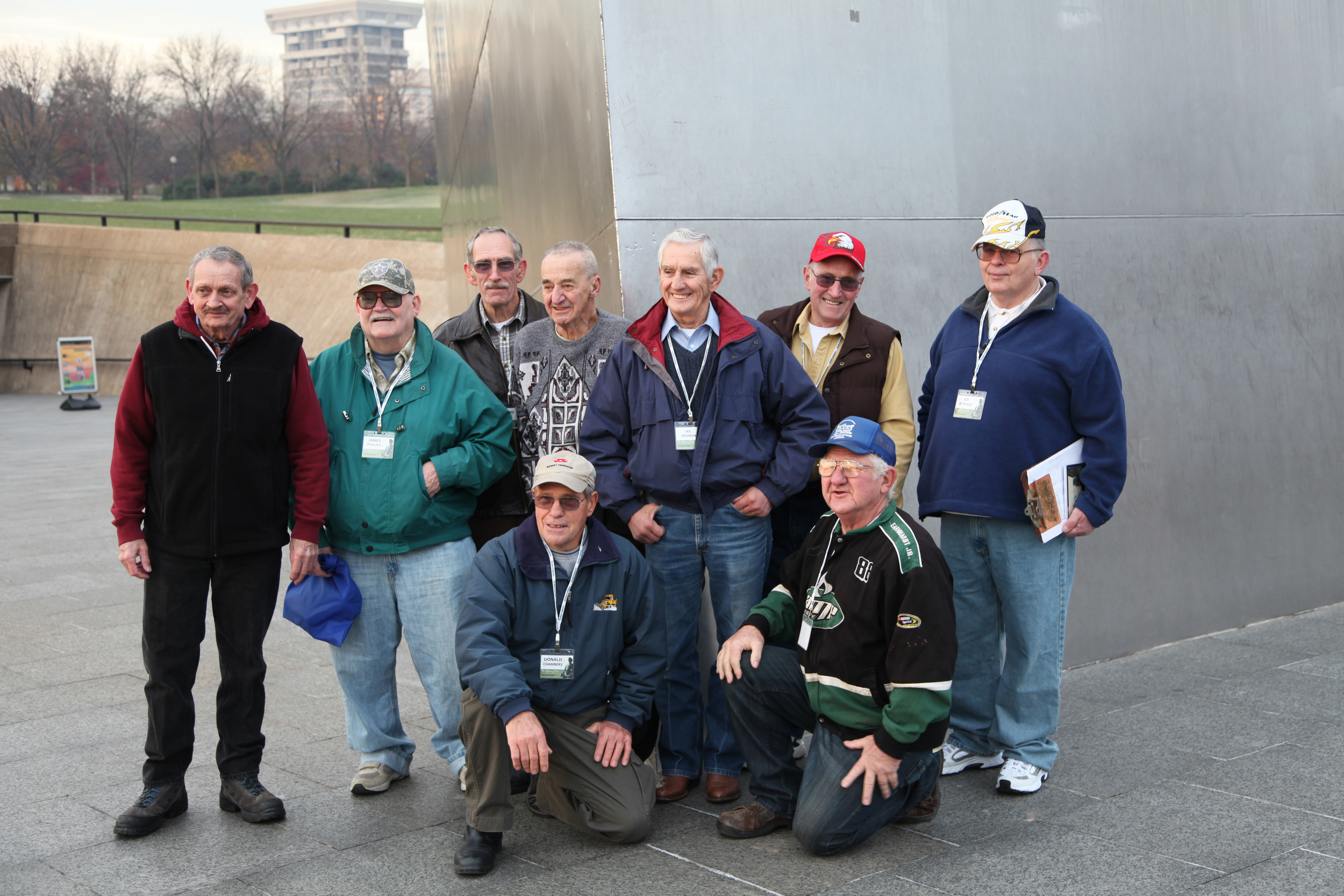 Retired Pittsburgh-Des Moines Boilermakers Pose at Gateway Arch, St. Louis