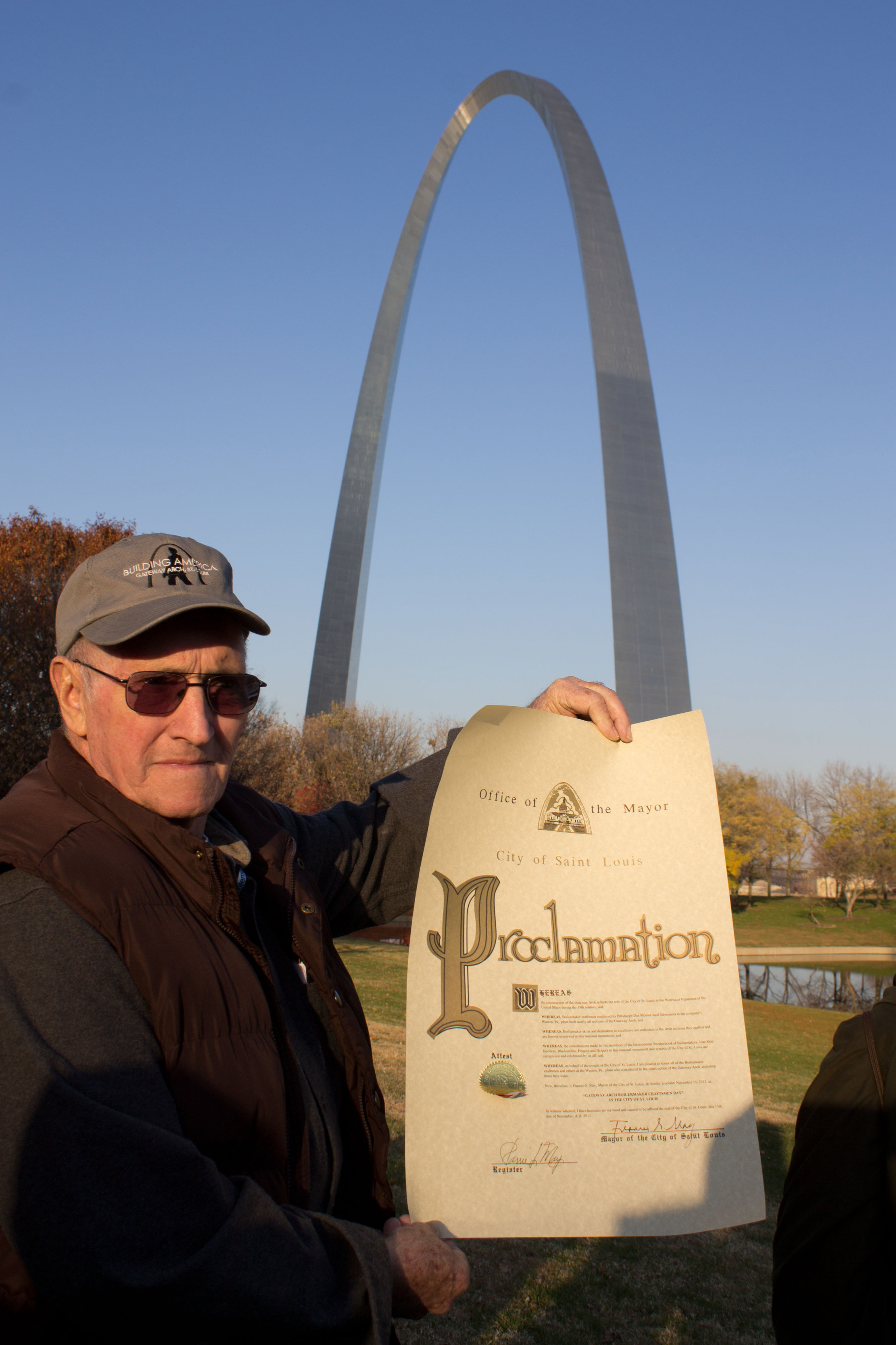 Boilermaker Retiree Proudly Displaying the Mayoral Proclamation