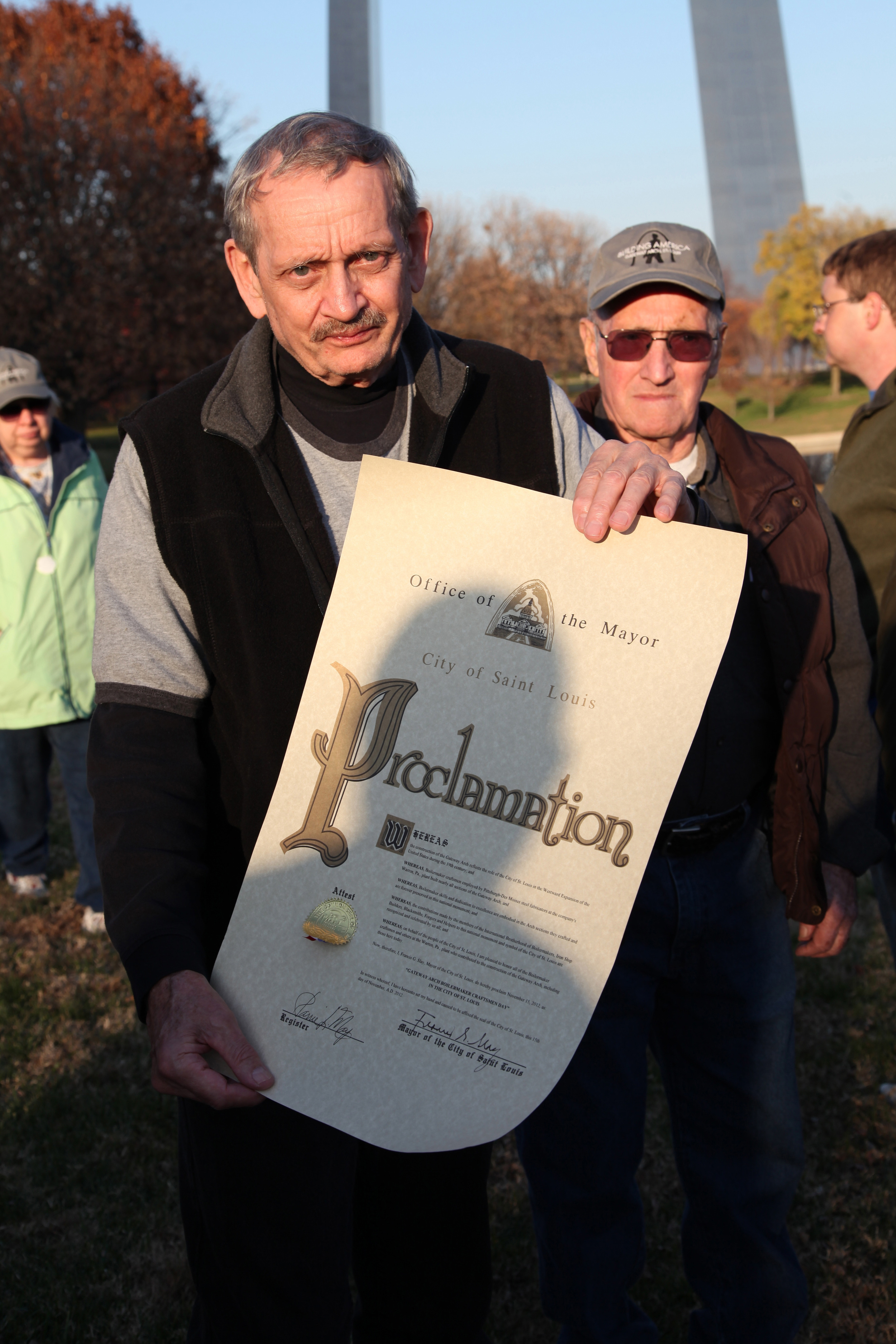 Boilermaker Retiree Displaying the Mayoral Proclamation