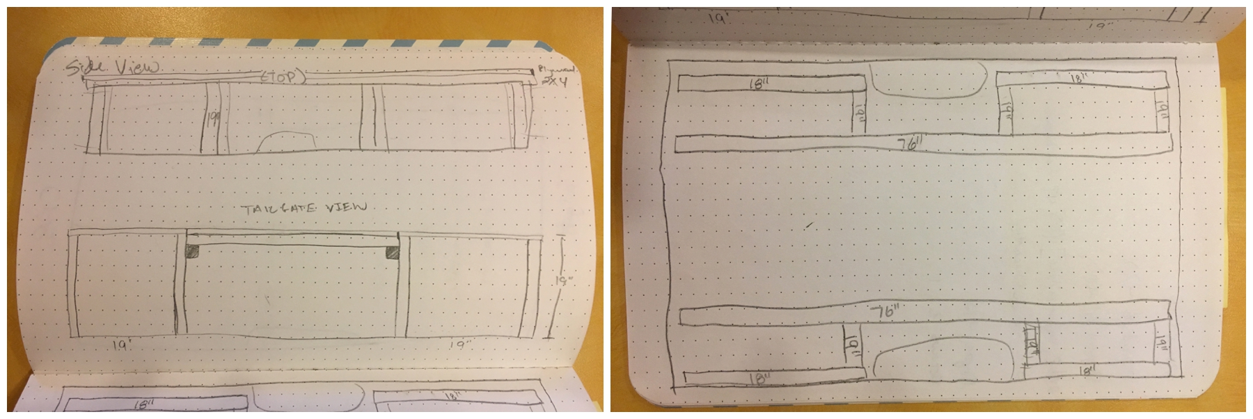 "Iphone shots of our ""plans""- side view and tailgate view on left, view from top on right..."