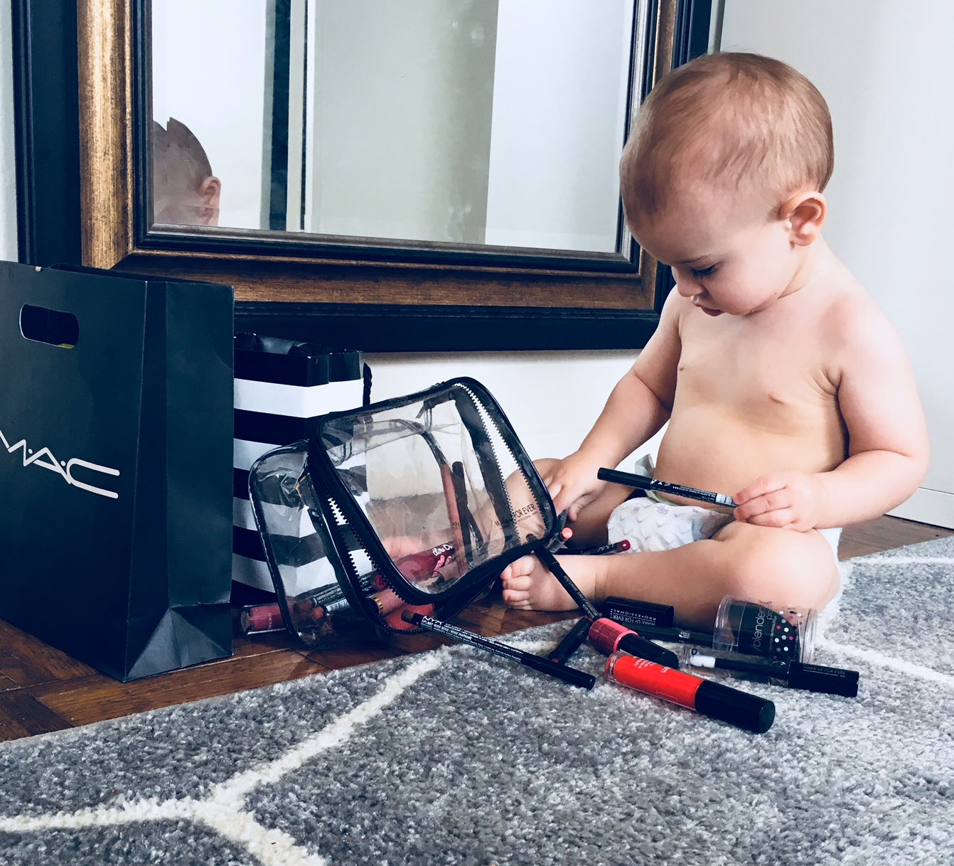 My son checking out all the new merch.