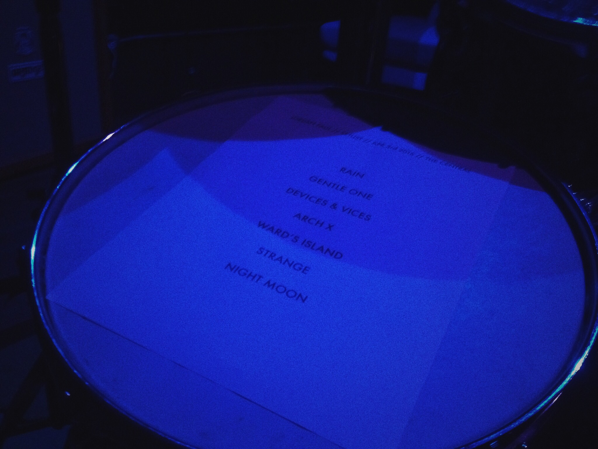 Set list from last night at The Central