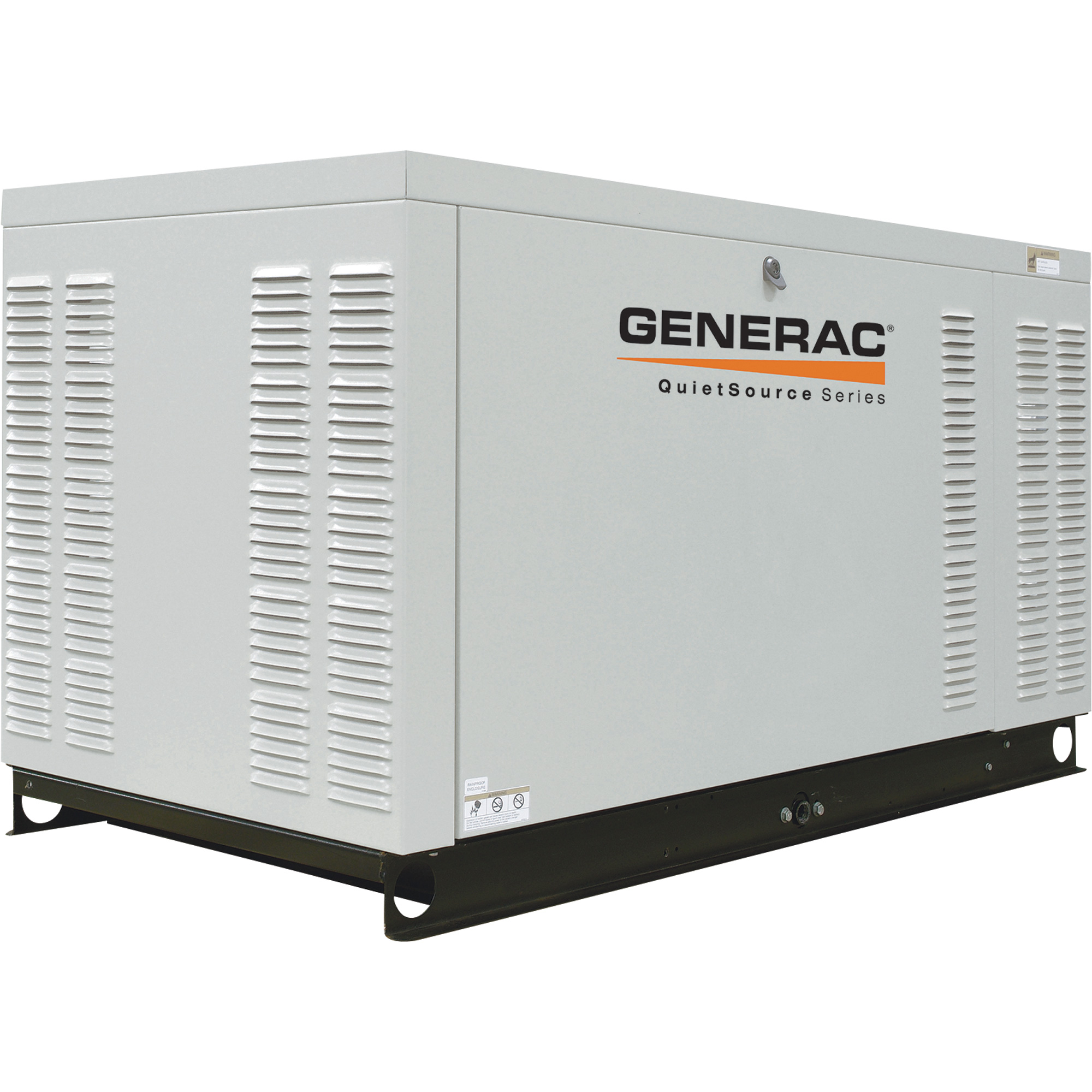 Generac QuietSource automatic gaseous generators are built with low-speed liquid-cooled engines for extra-quiet operation.