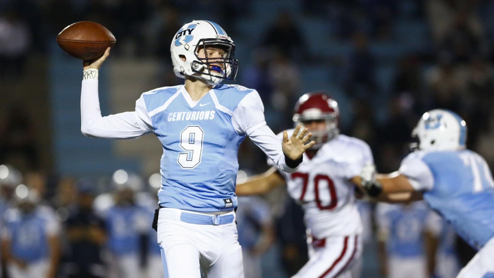 University City quarterback Gunnar Gray threw for 2,748 yards and 31 TDs as a sophomore last season. (Chadd Cady)  Union-Tribune