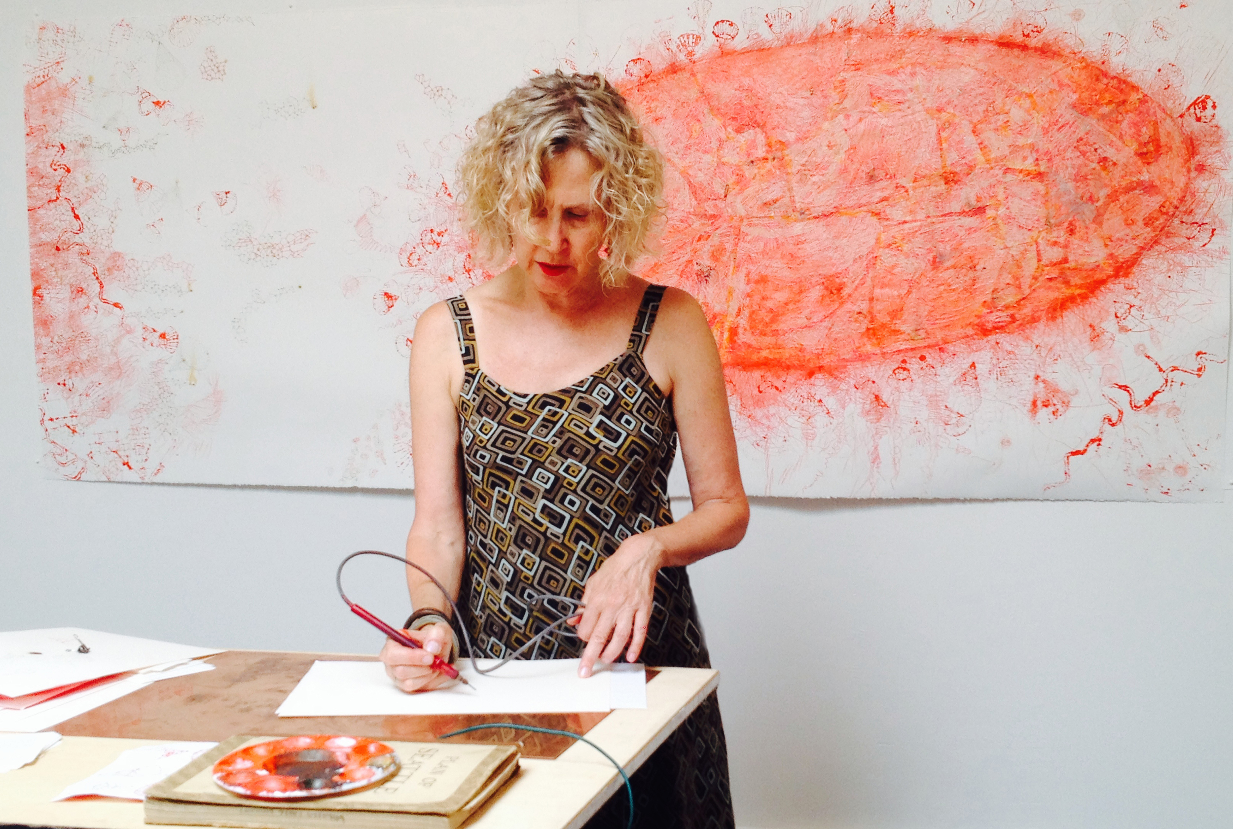 Drawing demo at LxWxH Gallery, July 2014. Curated by Cullom Gallery, Seattle.