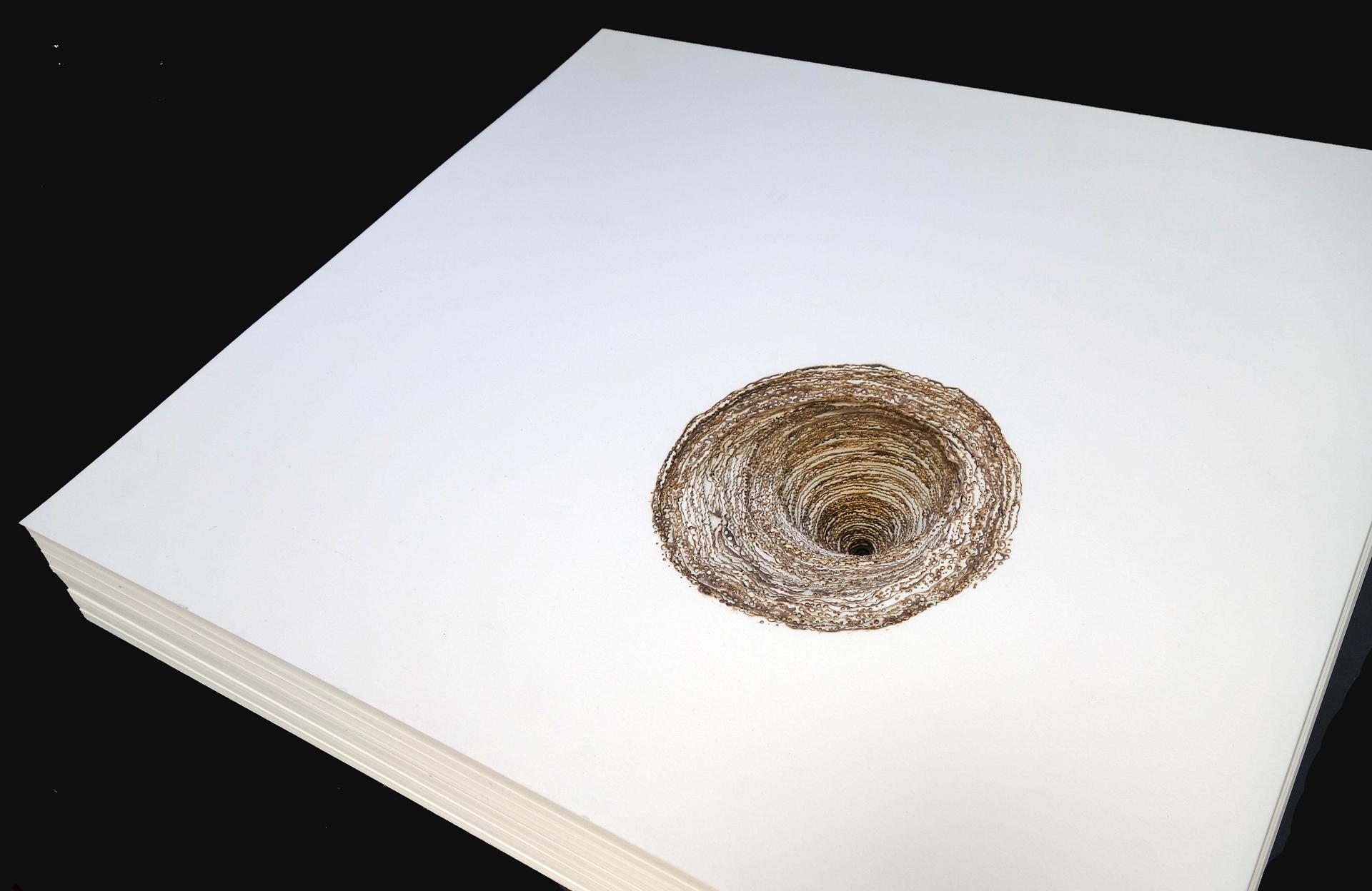 "REAM  , burned paper, 2014. 21"" x 19"" x 2.75"""
