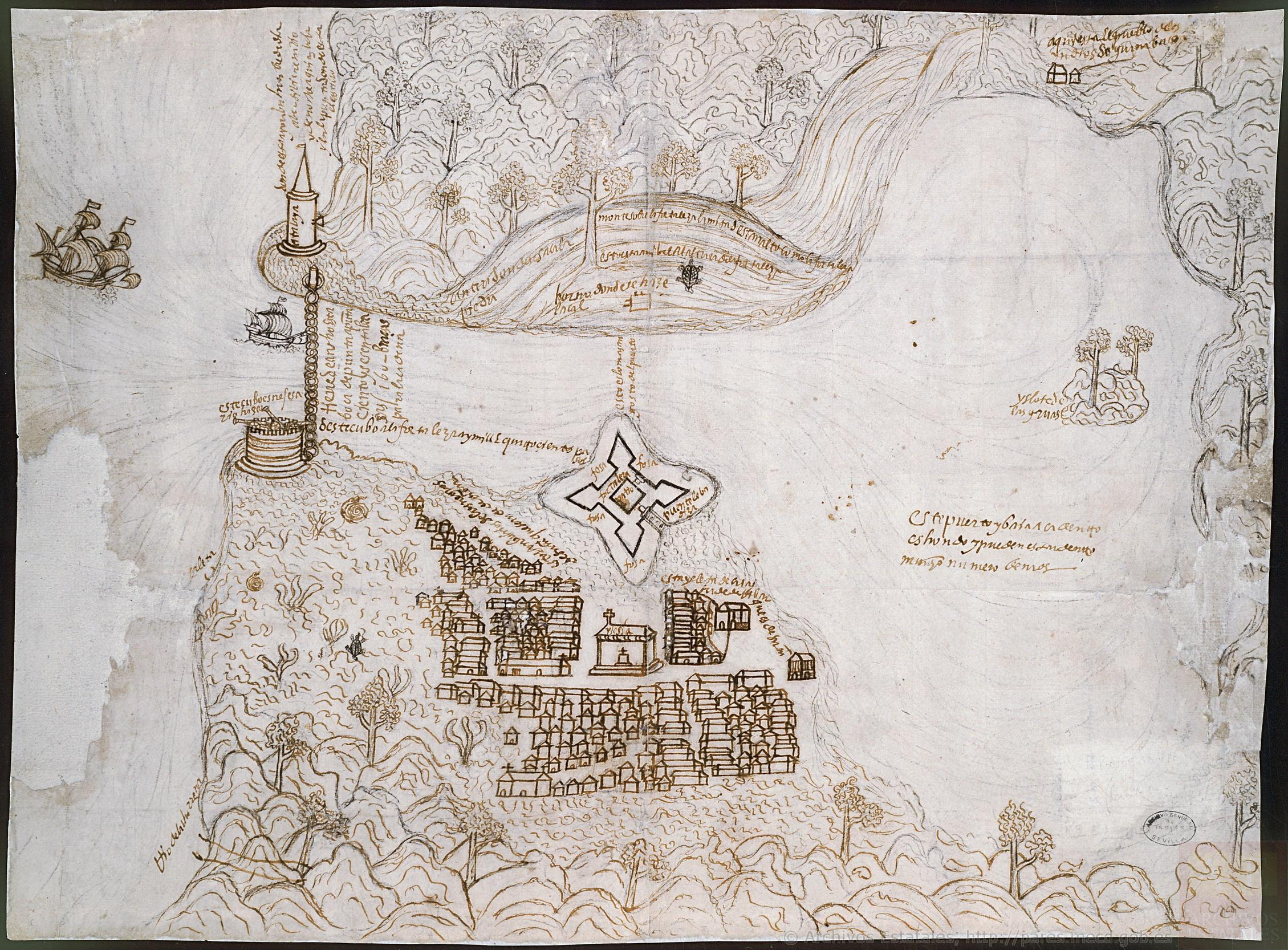 Archivo General de Indias, MP-SANTO_DOMINGO,4. A 1567 map of Havana used in my first article.