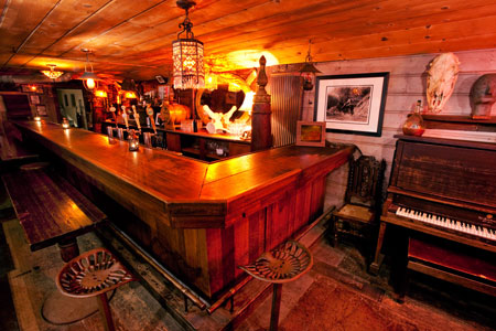 Long bar salvaged from Virginia City saloon.