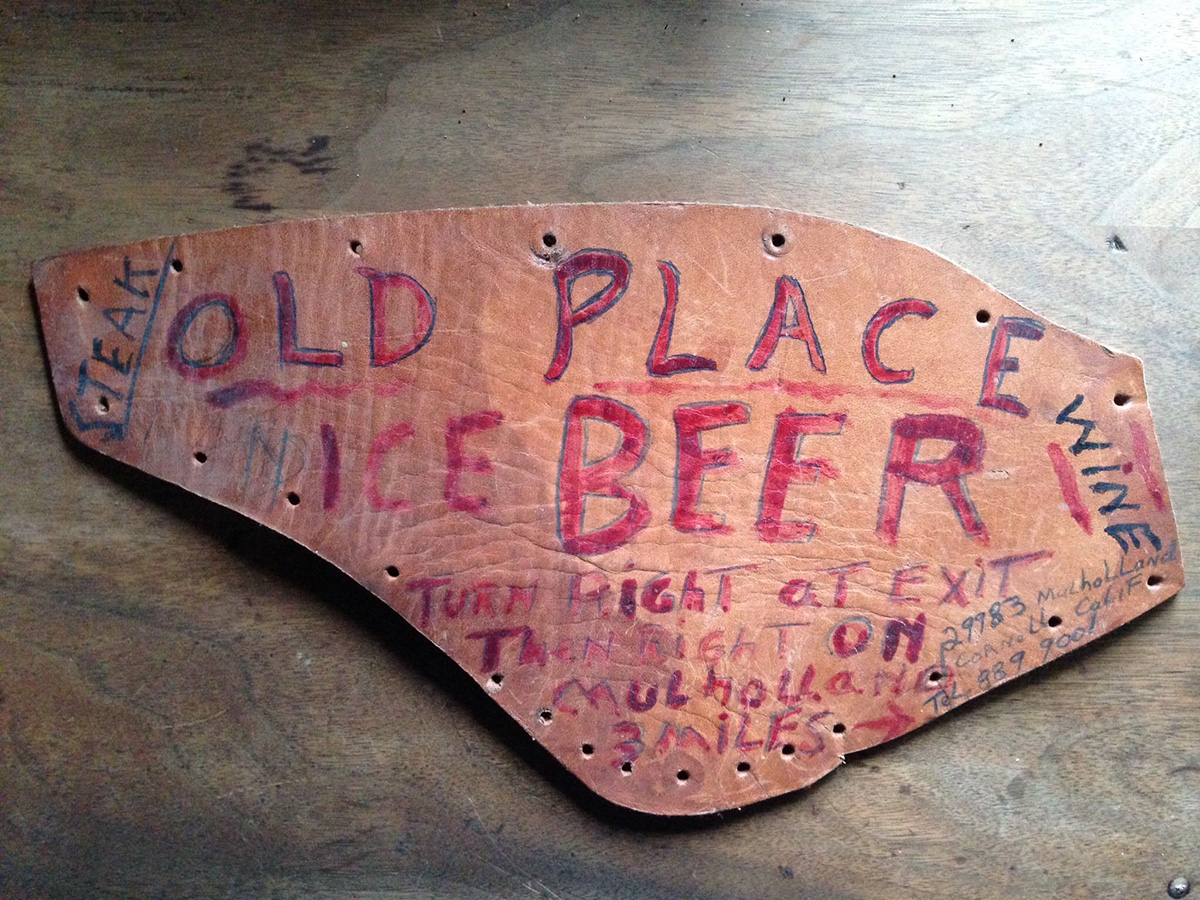 Early Old Place marketing was signage placed at the Paramount Ranch, which hosted the Renaissance Faire. Morgan says he realizes now why he makes his   gift certificates   on pieces of leather!