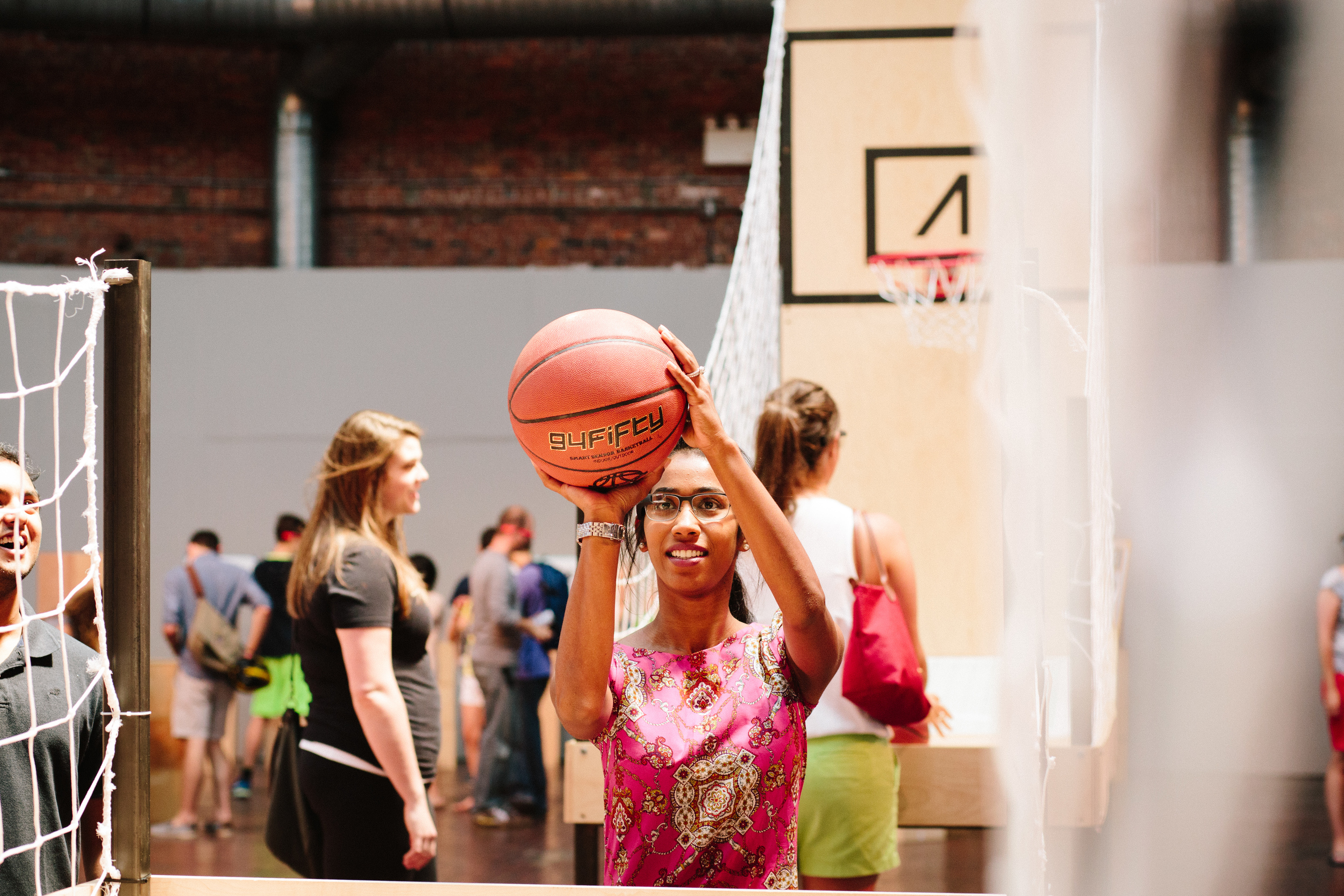 In July 2014, the Glass demo team came to the Cyclorama in Boston's South End, demoing to hundreds of attendees over the course of one weekend. The Glassware 94fifty was on display, featuring smart sensor basketballs paired with Glass devices.
