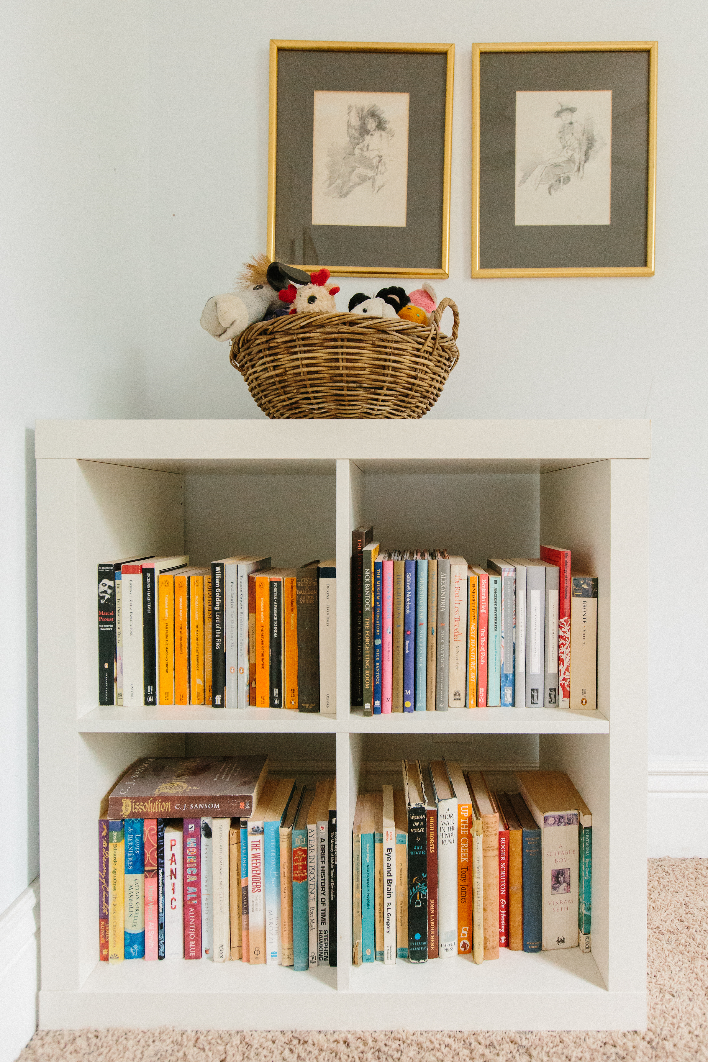 As with most of Hannah's home, books and art are ever-present.