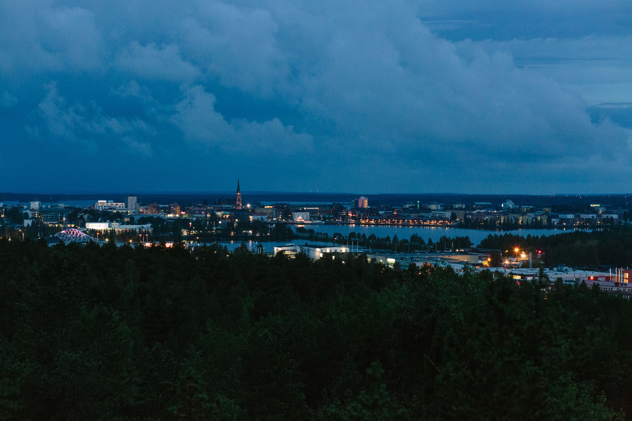 Luleå at night - view from the water tower hill.