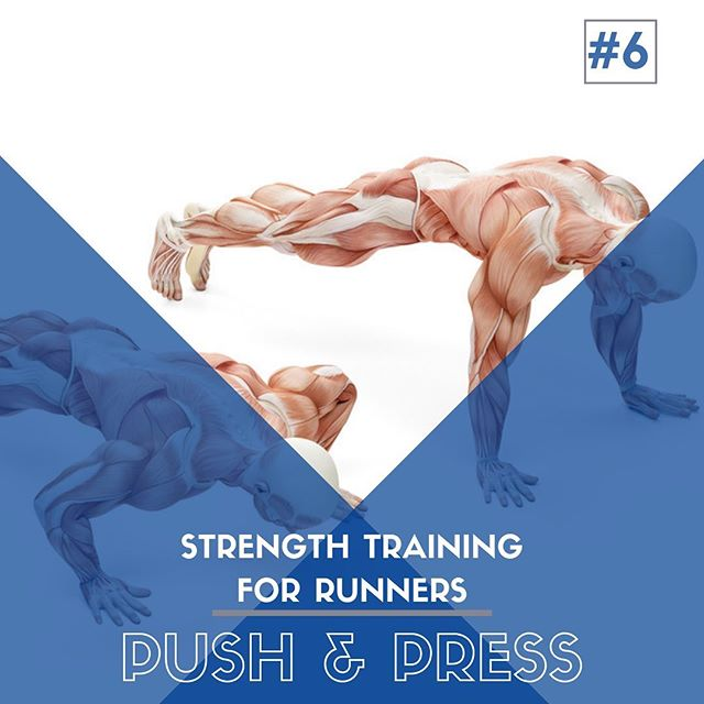Strength Training For Runners - Exercise #6️⃣: PUSH & PRESS  Exercise #6 reviews some of the best (my favorite) exercise that incorporate upper body pushing movements.  For regular everyday life needs, we should all be able to complete at least a handful of push-ups, if not 40+ for men and 25+ for women at one time, as determined by a recent Harvard Medical School study which demonstrate the ability to perform this number with a reduced risk of many injuries and disease, namely heart disease.  While pressing movements don't pack as much benefit as back exercises for running efficiency, they do help round out a fit and healthy body.  Work a few of these movements into your next gym workout and mix things up a little bit.  If you are pressed (get it?) for time, try working in 2-3 sets of 10-15 push-ups after one or two of your runs each week.  Runners should, but often shy away from strength training.  Along with proper training, nutrition, and rest, strength training makes up our 4 pillars of Injury-Free Running.  Being stronger not only makes us more efficient while running and more resilient during hard cycles, but it also allows our muscles, tendons, ligaments, and bones to adapt to the pounding force and strain that running places on the body. #running #sportschiropractic #strengthtraining #saltlakecity