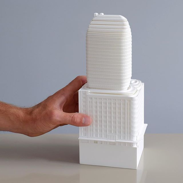 """A DA model for FJMT @fjmtstudio  In their design statement, the two elements would """"exist independently but become inseparable, linked both physically and culturally."""" #modelmaking #sydney #sydneyarchitecture #kinkstudio #modelmaker #modelmaking #architecturemodel #damodel #cityofsydney #3dprinting"""