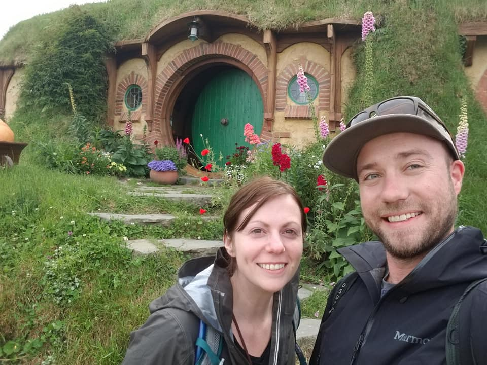 Photo of us at Bag End in Hobbiton Movie Set, Matamata New Zealand