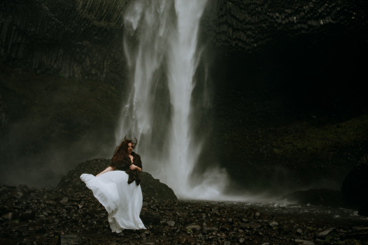 The wind underneath Latourell Falls in Portland was like being in Iceland! I love this bridal photoshoot.