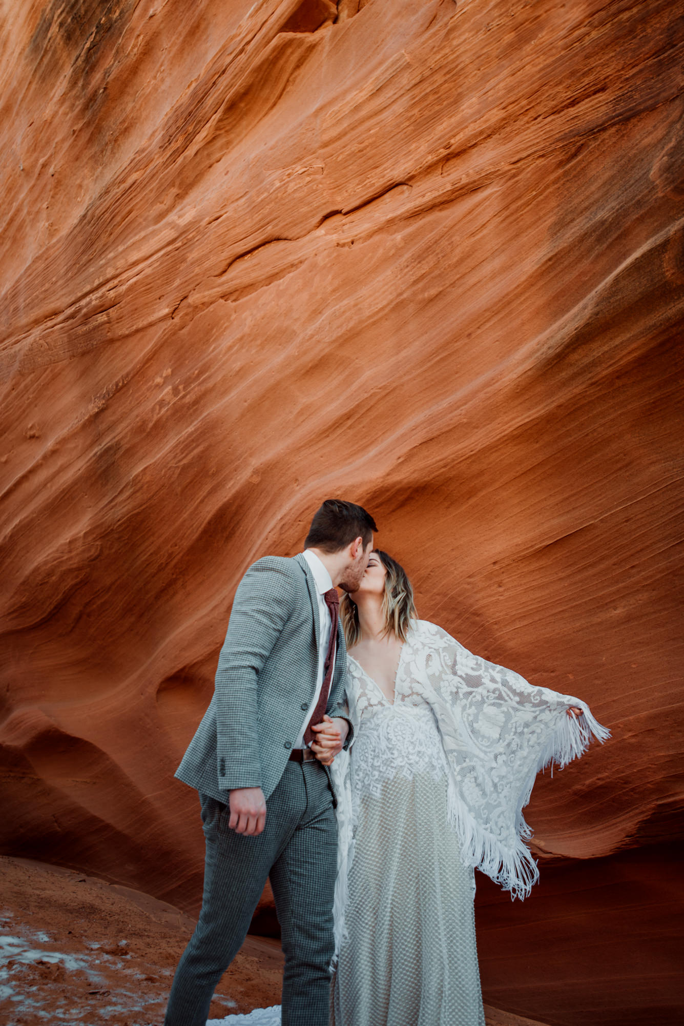 A bride and groom enjoying their small elopement wedding in Arizona.