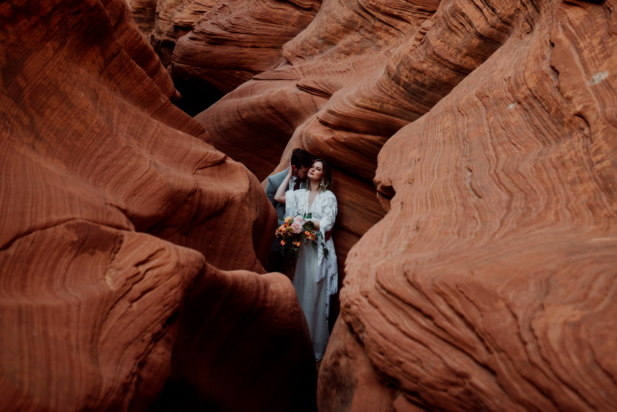 I love this stunning boho bride and groom in sandstone canyons, located in Arizona