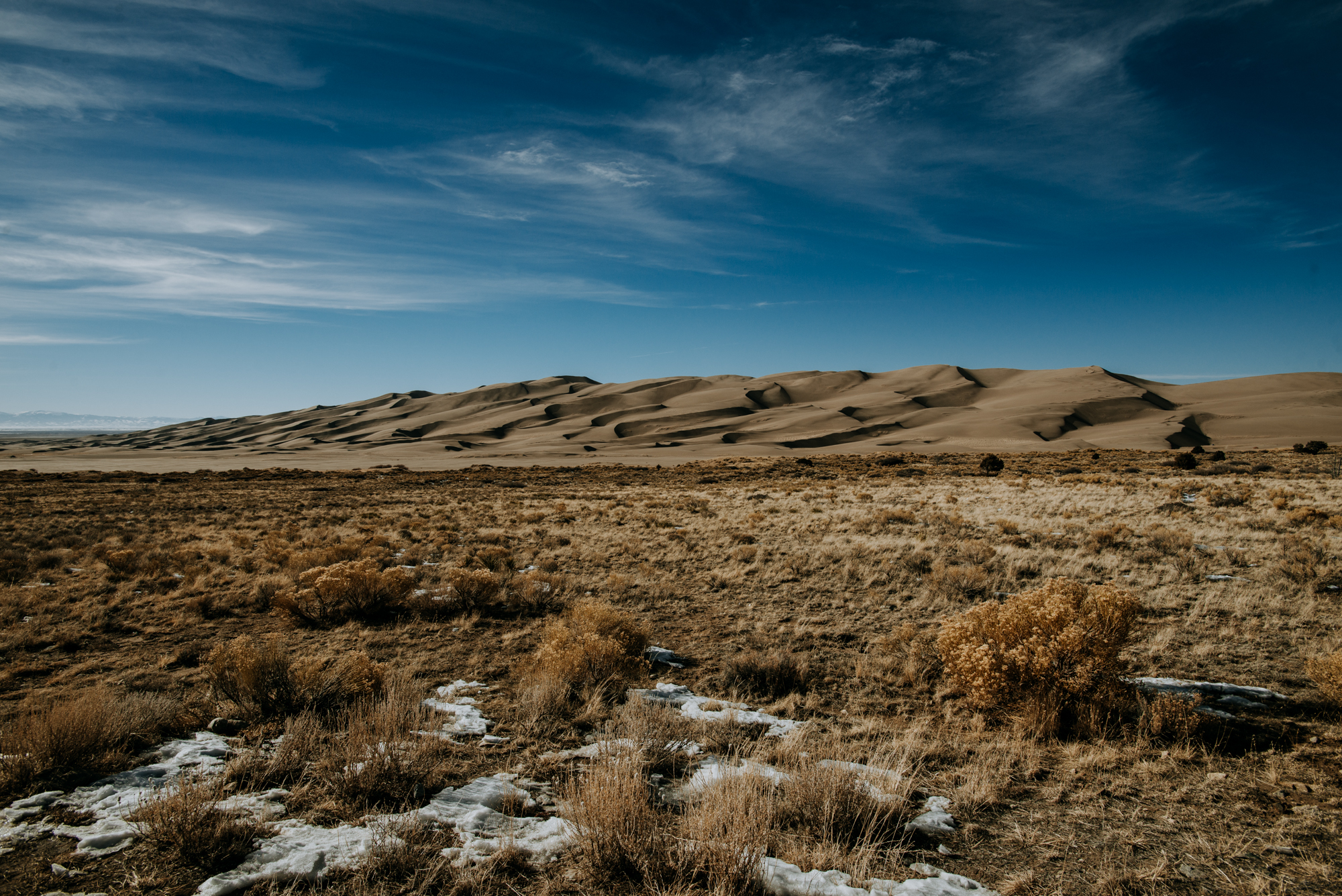 A photo of Great Sand Dunes National Park in winter.