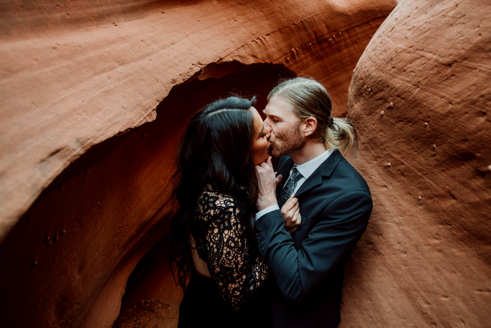 This photo shows a sweet moment between the couple in the beautiful Arizona slot canyons