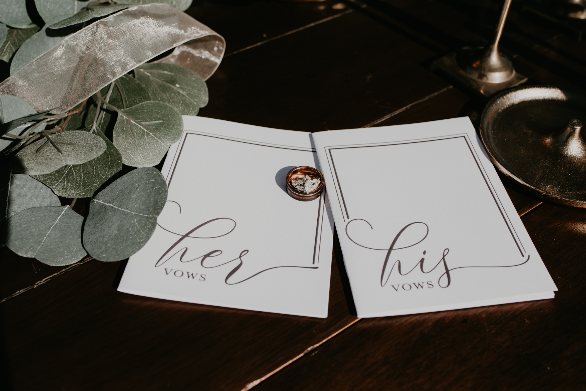 His and Hers calligraphy vows are shown with a wedding ring.