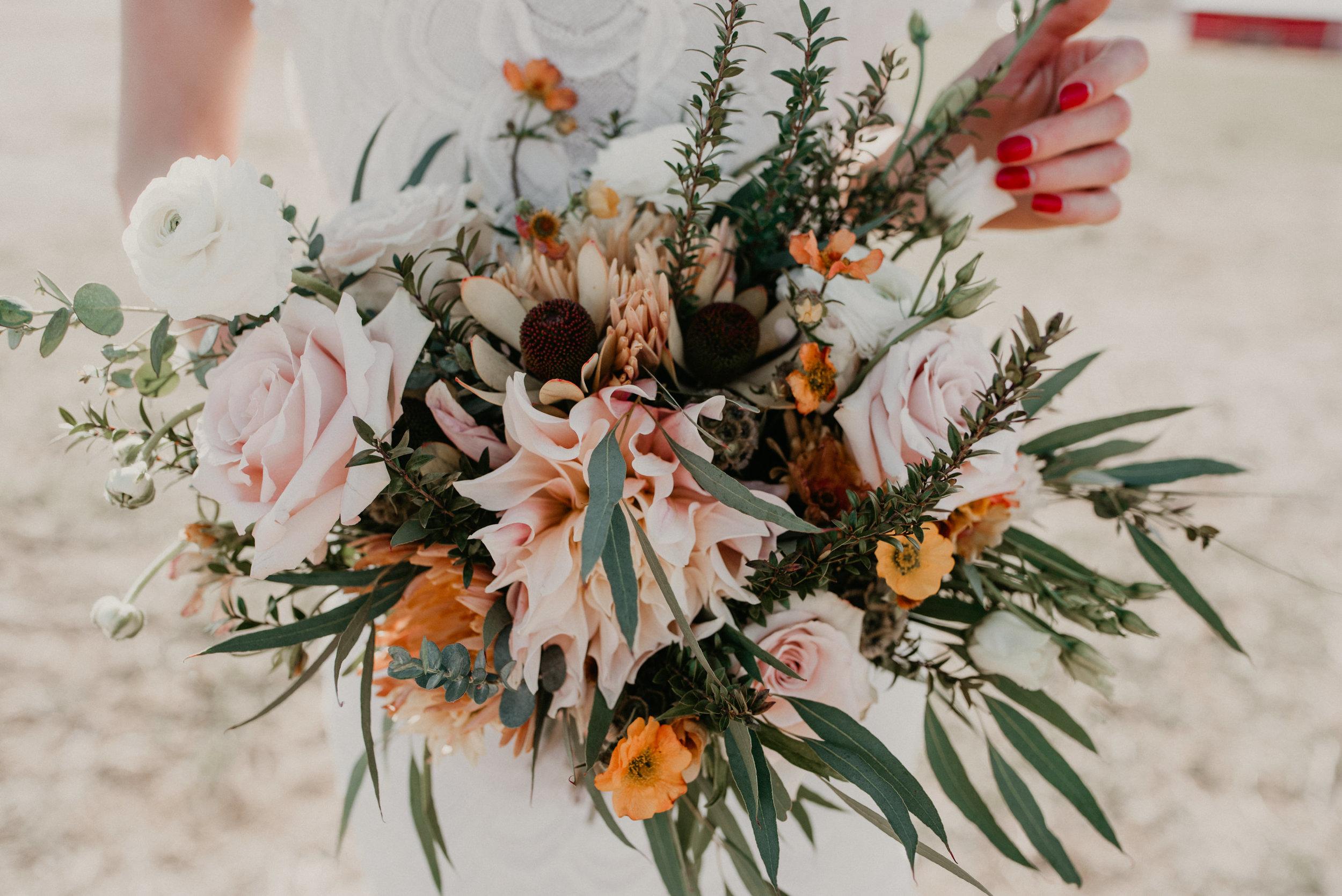 Close up detail of a boho elopement and wedding bouquet.