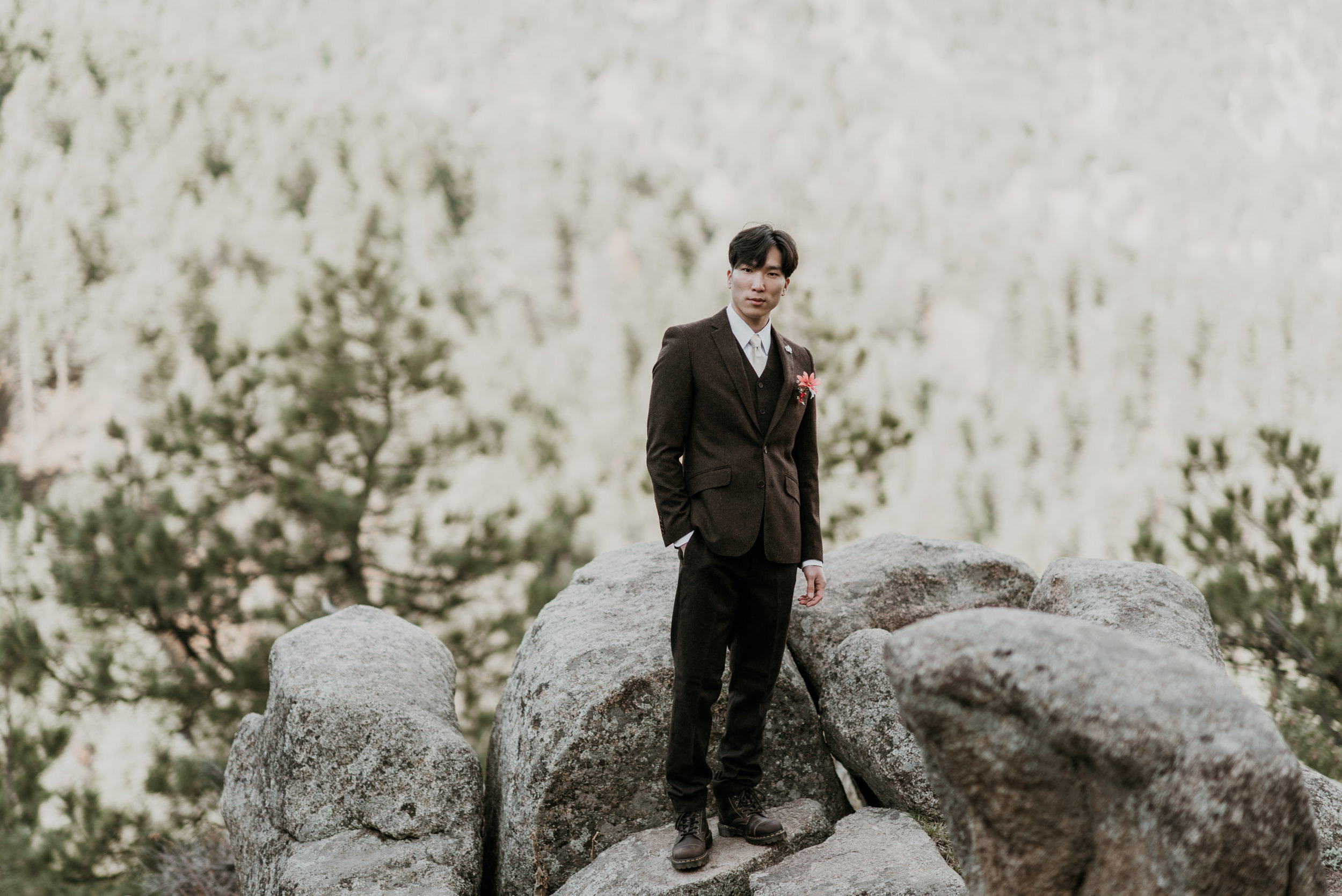 A dark brown wool tweed suit is ideal for early spring occasions.