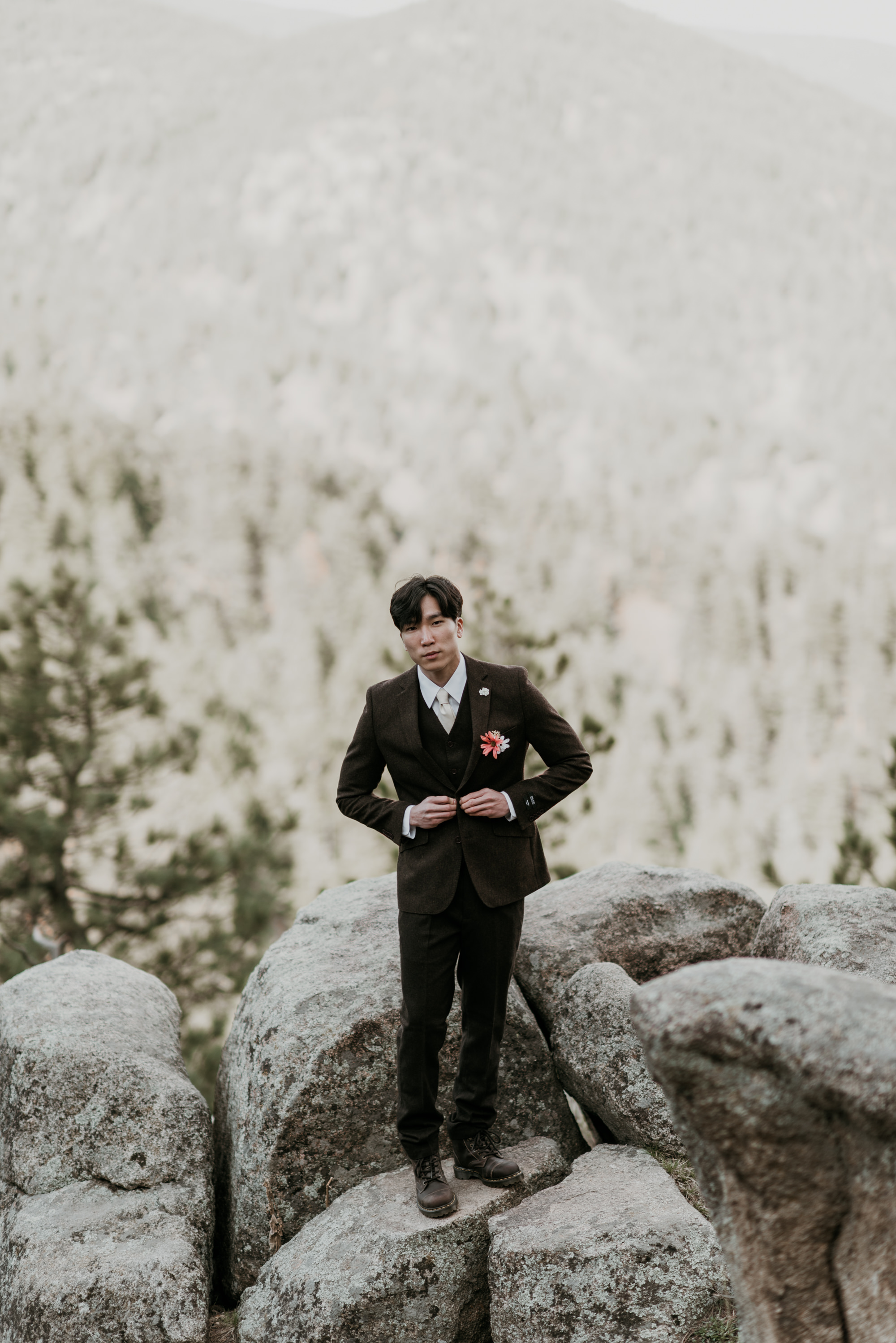 A wool suit kept our groom warm in the cool morning air.