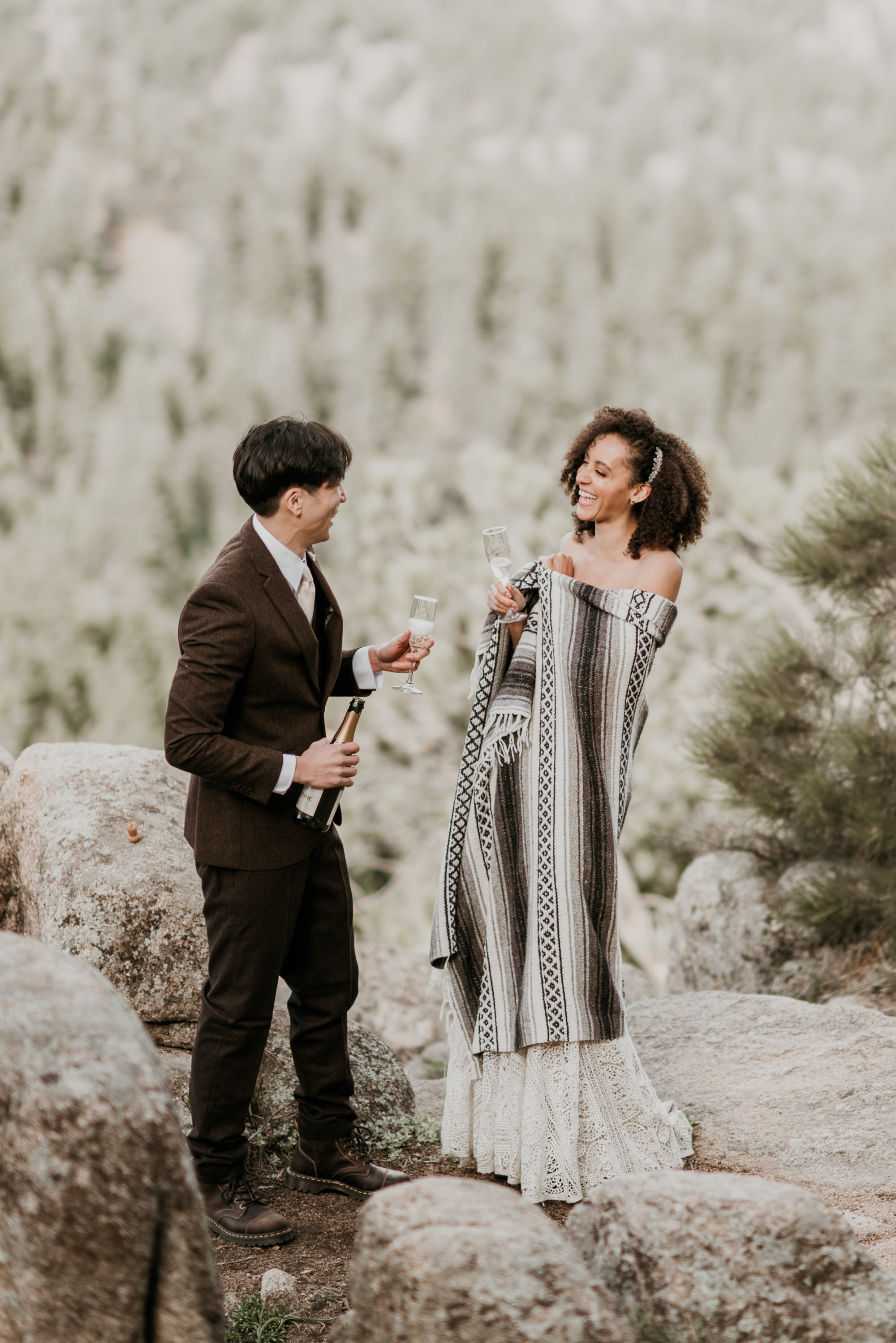 Boho summer elopement in Rocky Mountain National Park