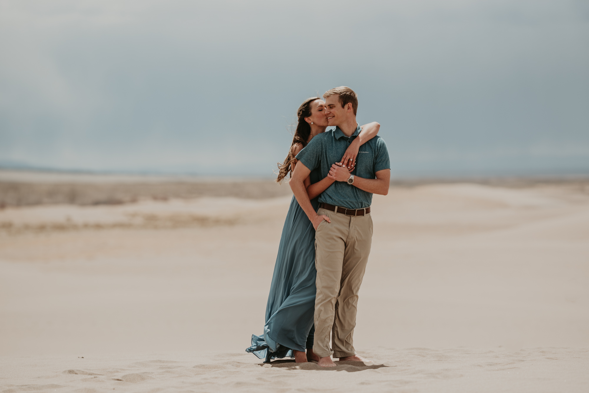 Brittany embraces Eric on the Dunes