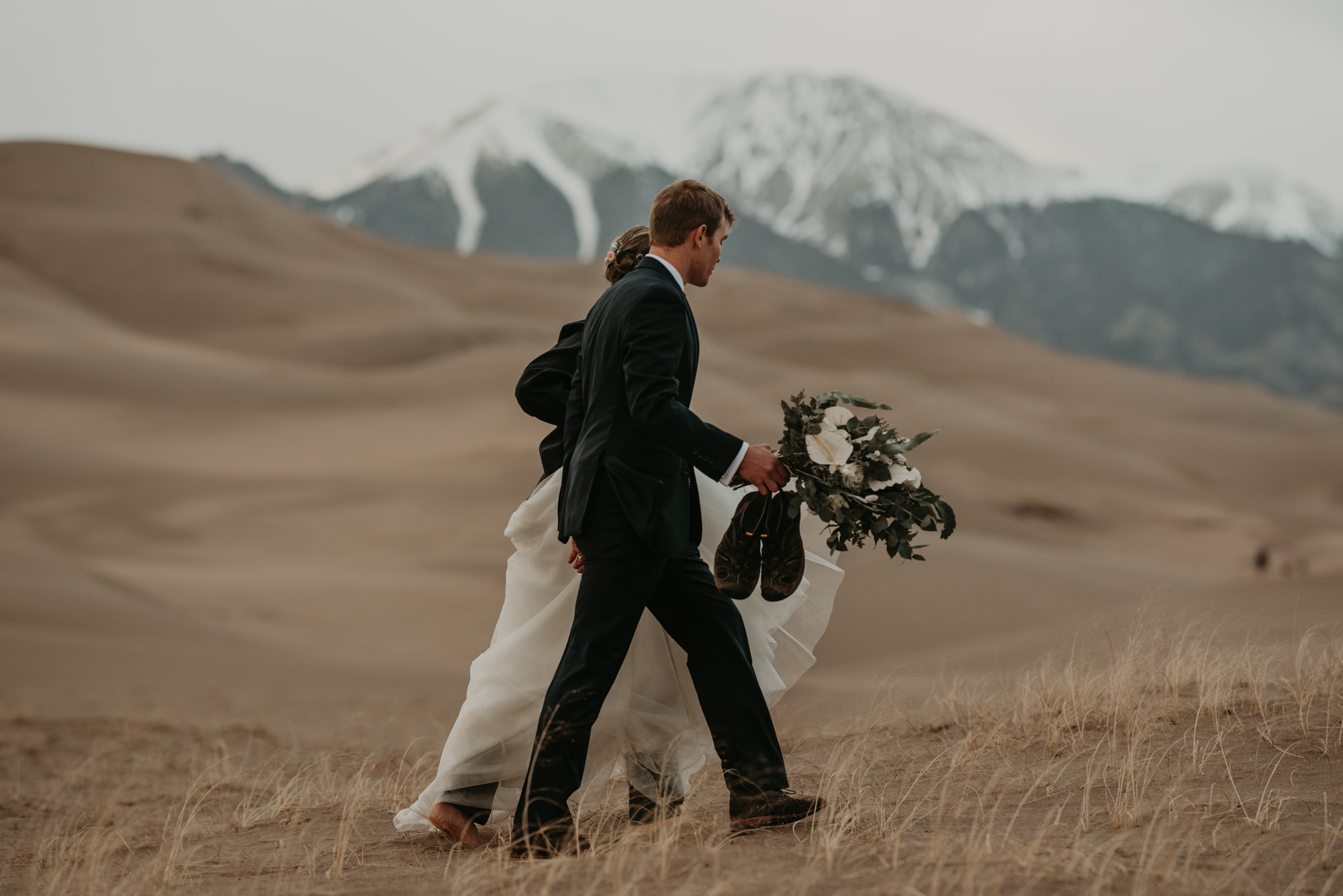 The Sand Dunes is one of the best places for hiking elopements in Colorado