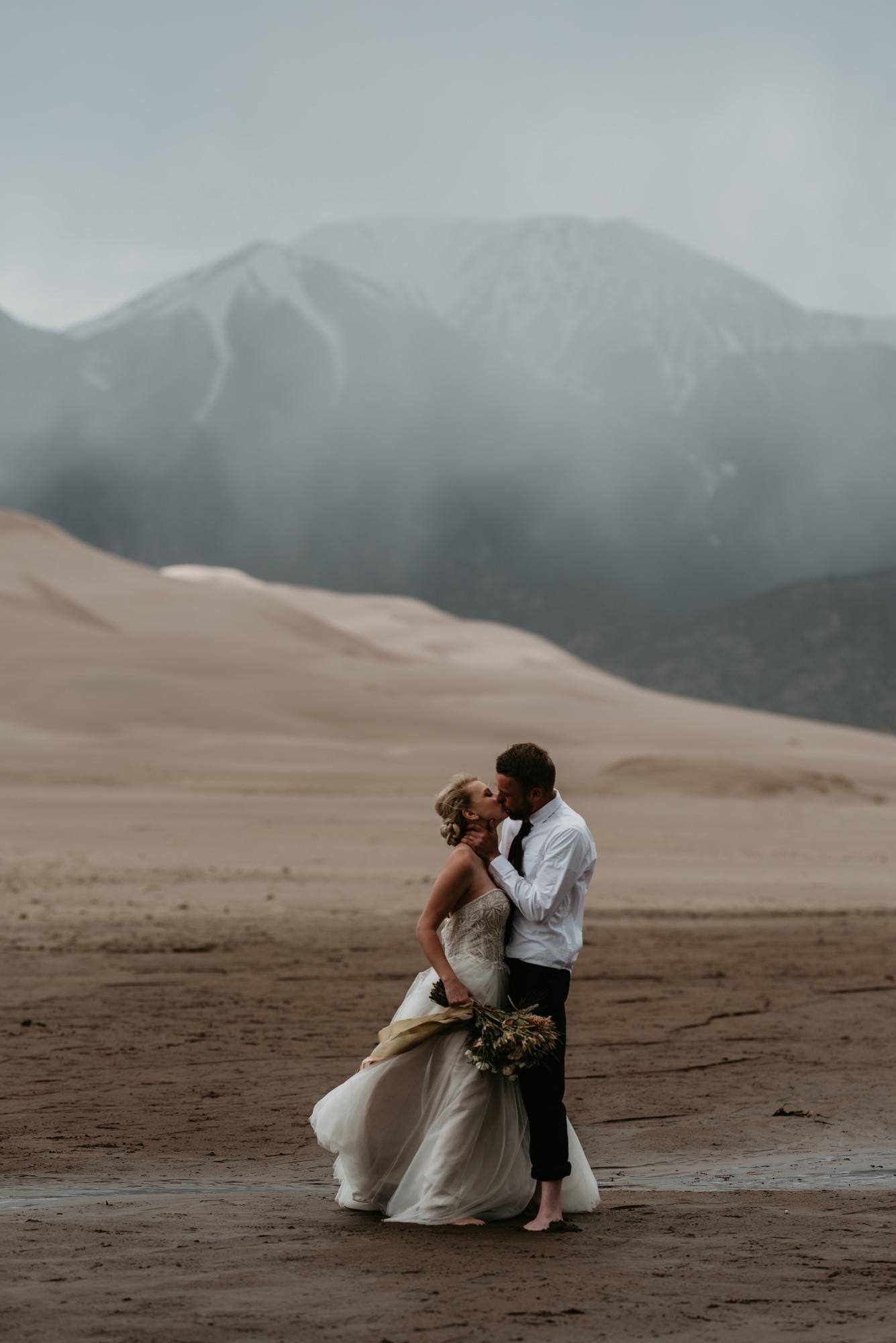 Romantic Sand Dunes elopement wedding.
