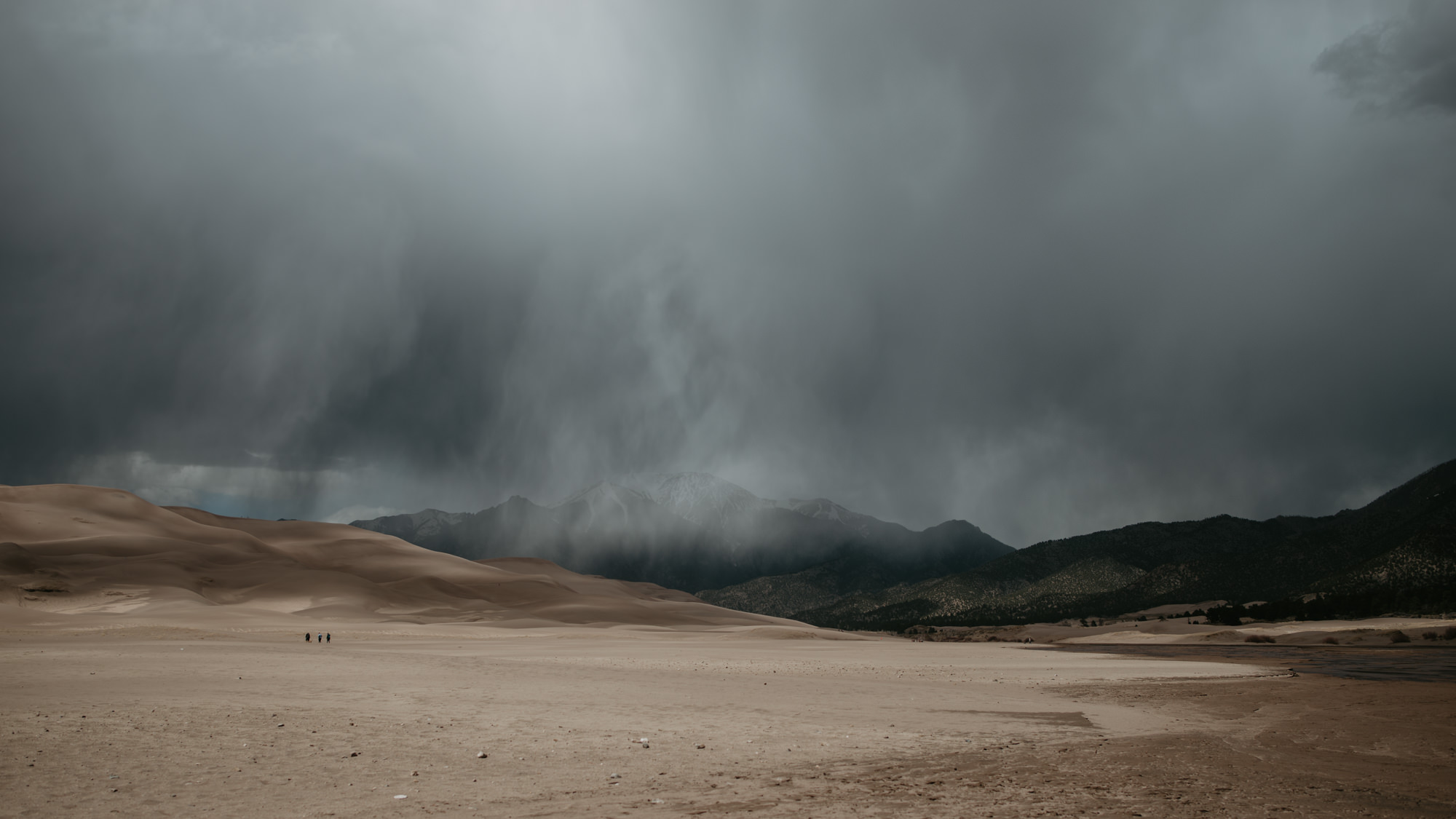 Dramatic clouds and rain over the Great Sand Dunes