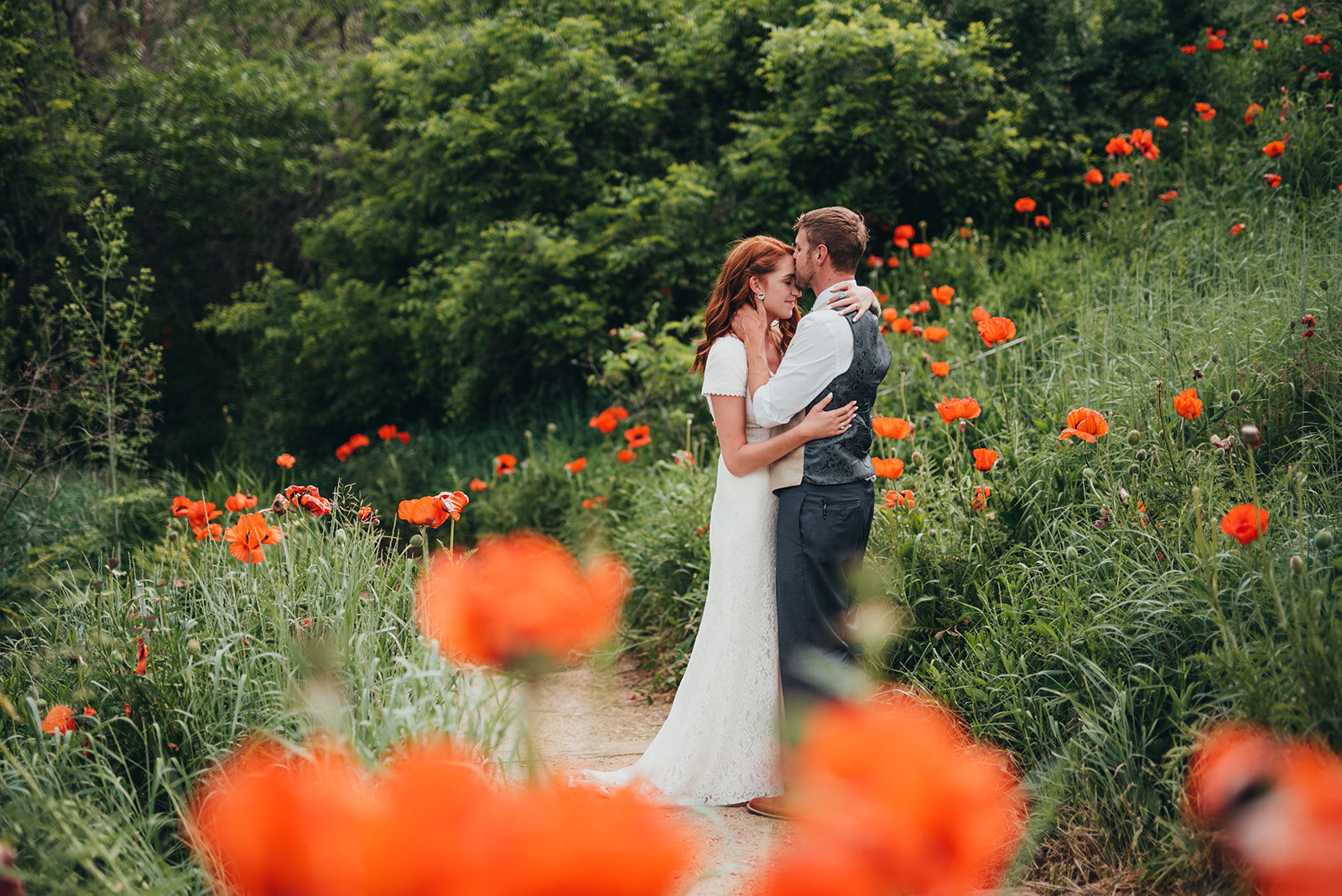 Colorful elopement in wildflowers.