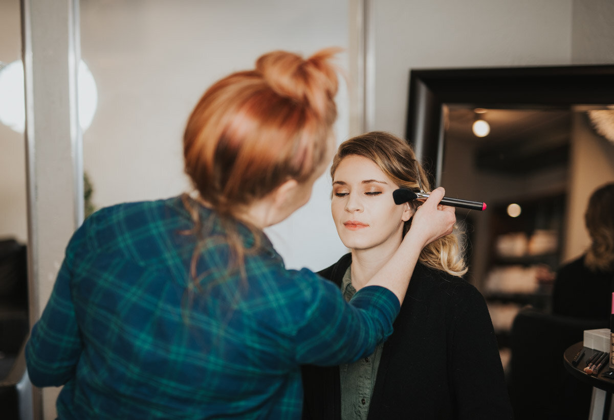 Lacey Jane Style does makeup for Cassie's hiking elopement.