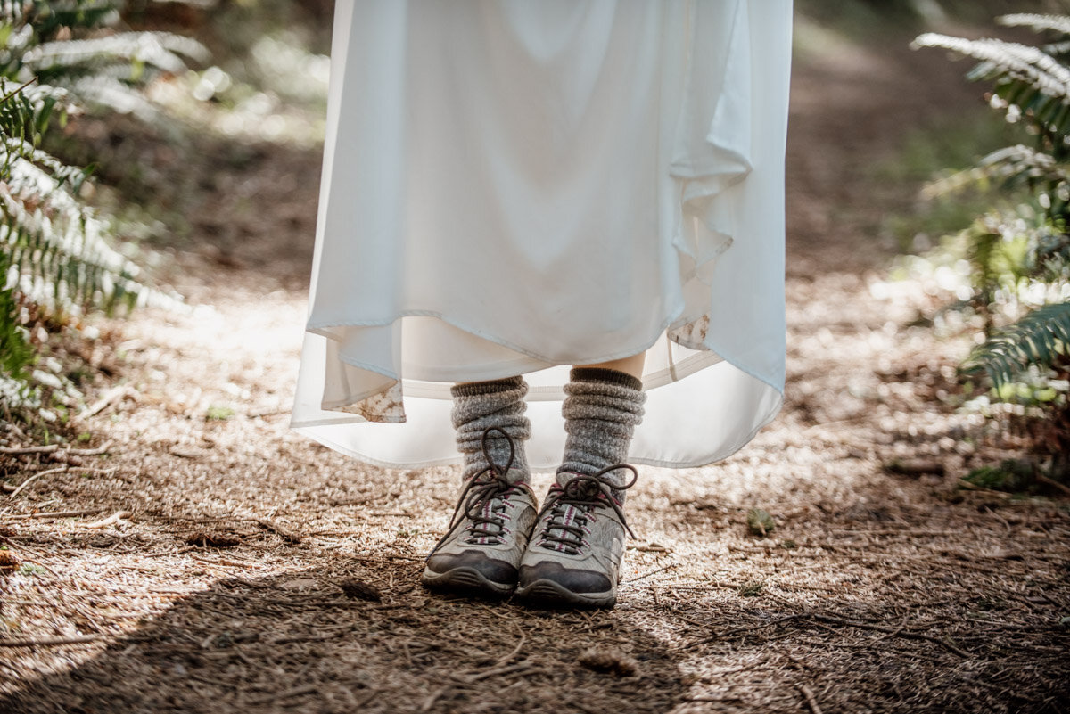 Wedding dress and hiking boots